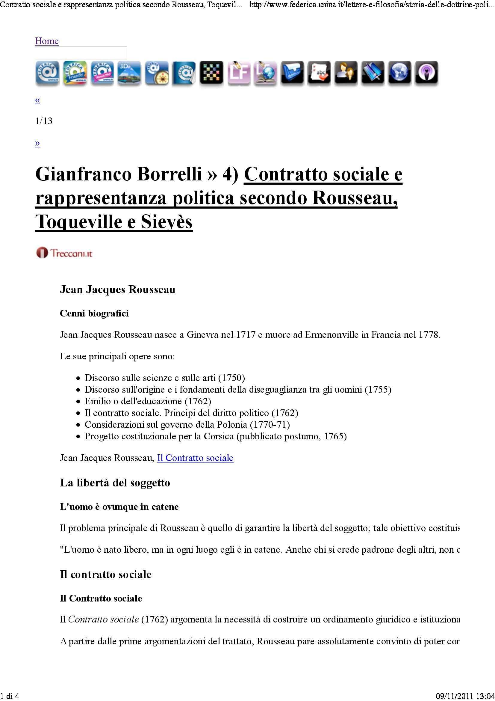 Contratto sociale e rappresentanza politica secondo Rousseau Tocqueville e Sieyes