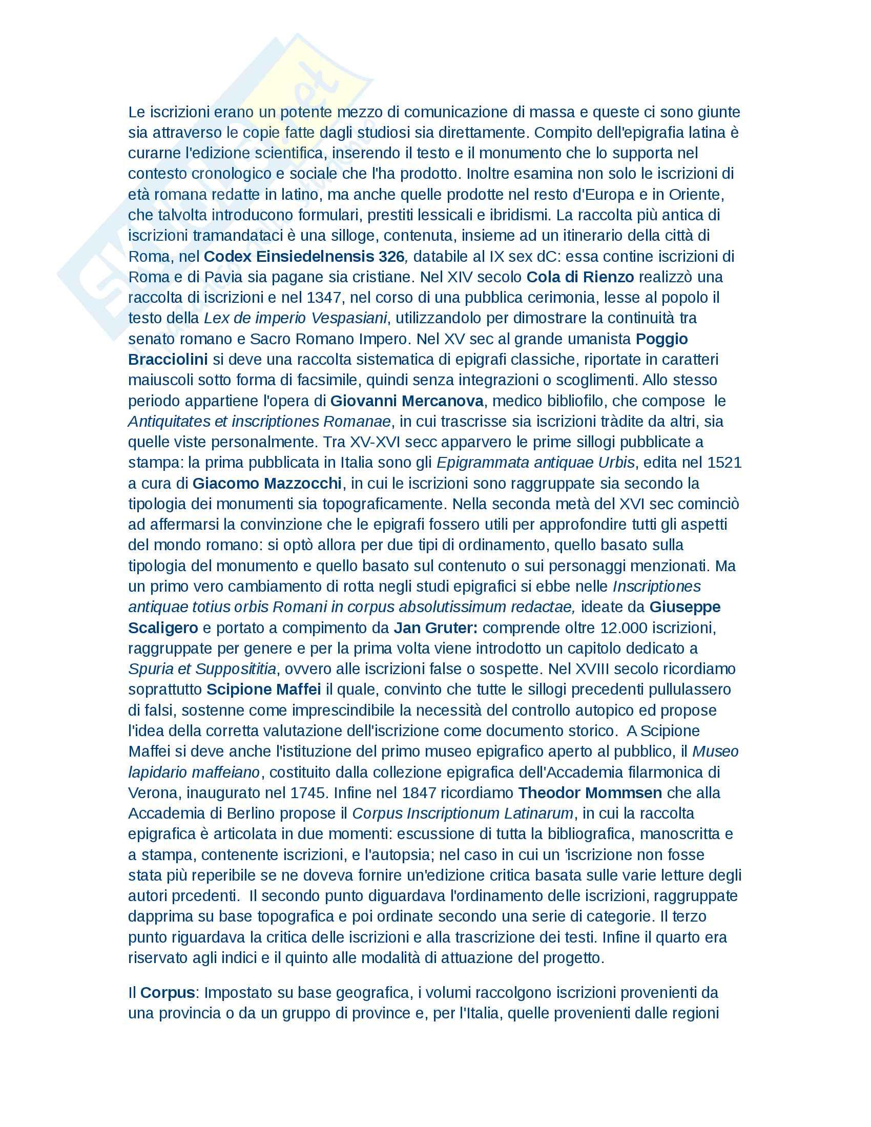 Riassunto esame Epigrafia latina, prof. Porena, libro consigliato Manuale di Epigrafia latina,  A.Buonopane