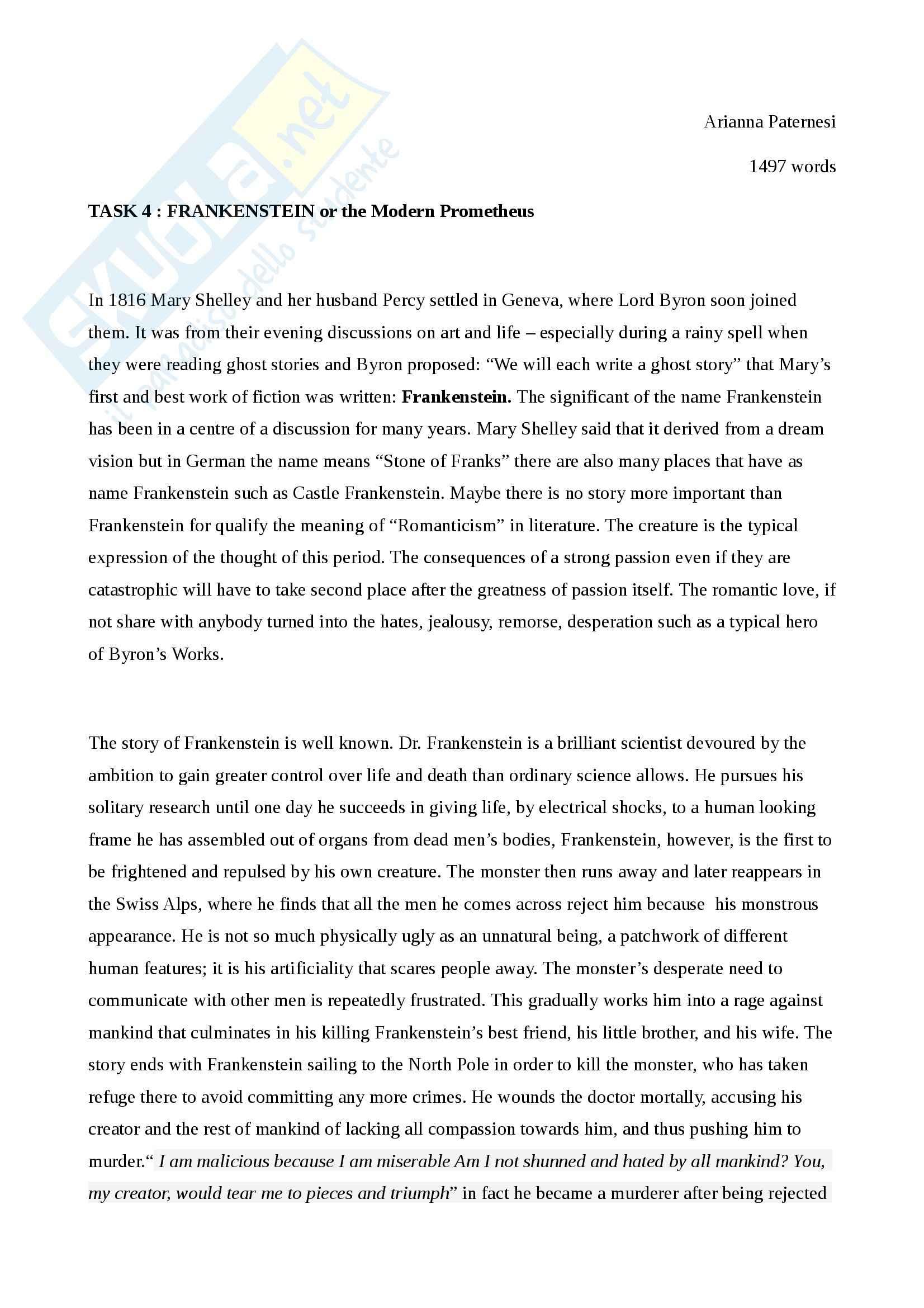 Frankenstein analysis essay
