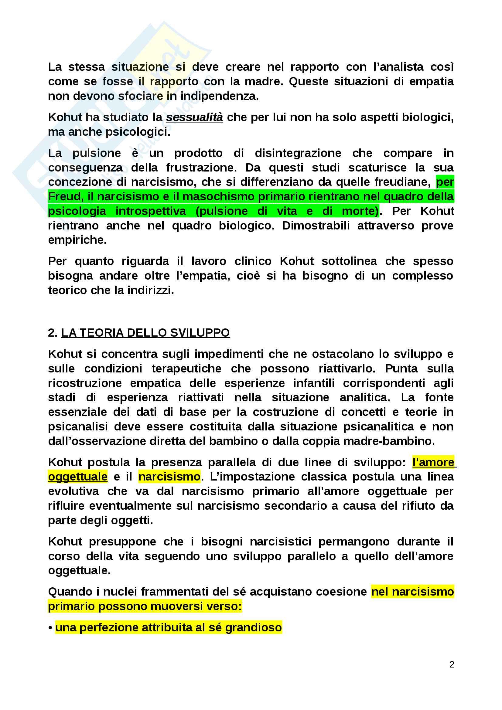 Riassunto esame Psicologia dinamica, prof. Kohut, libro consigliato Manuale di psicologia dinamica, Zavattini Pag. 2
