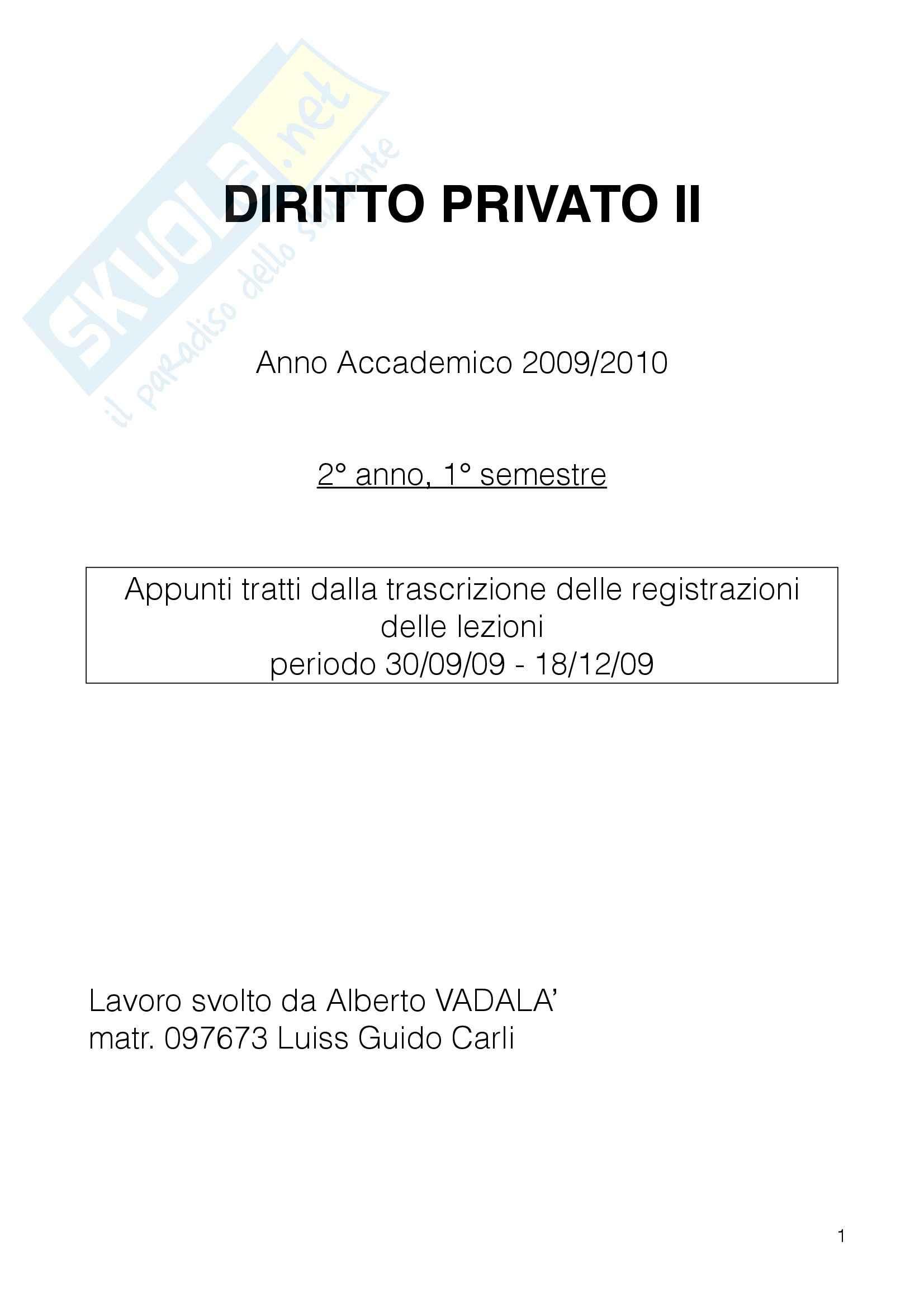 Diritto Privato II - Appunti