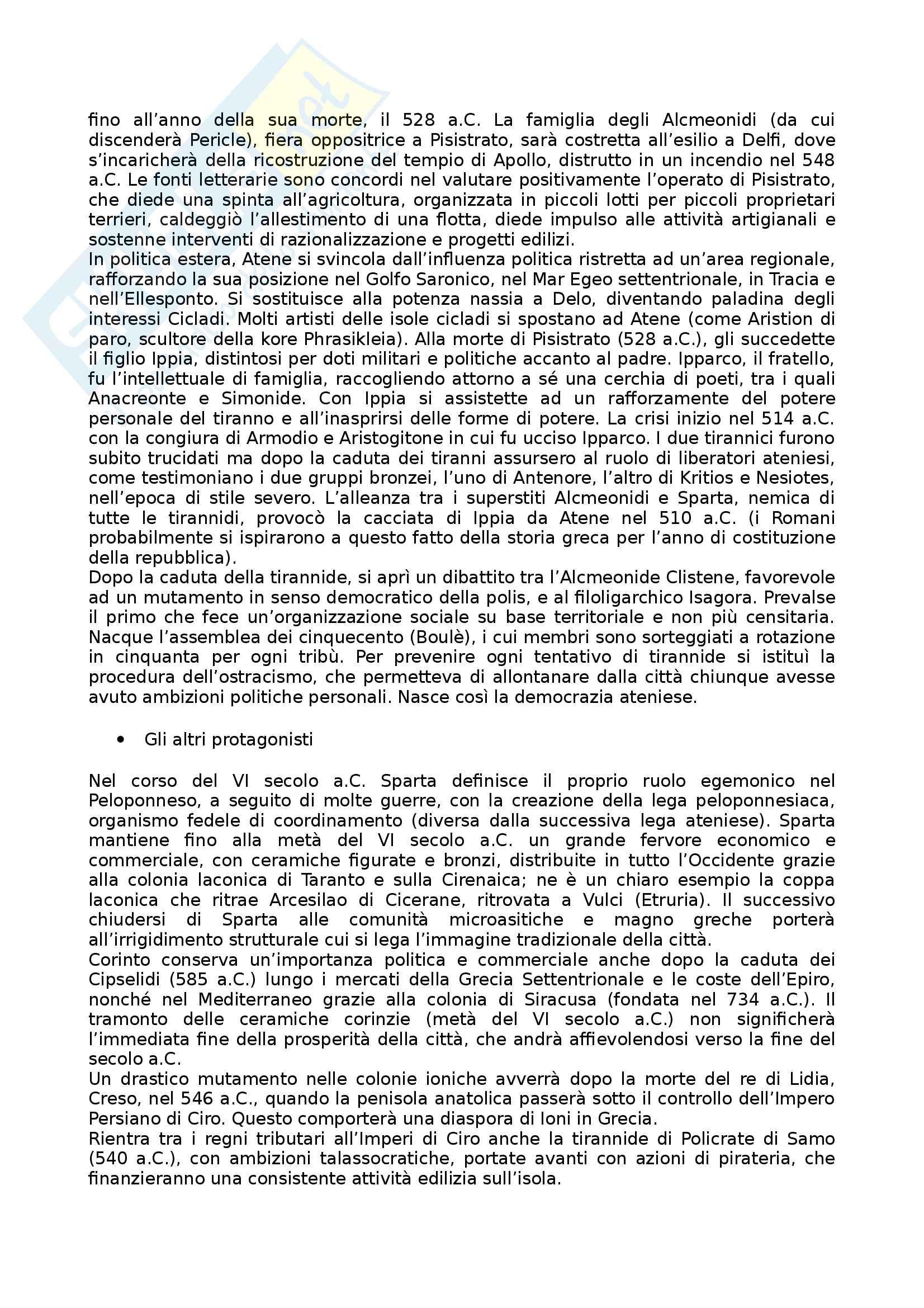 Riassunto esame Arte e Archeologia Greca, prof. Bejor, libro consigliato Arte Greca: Dal decimo al primo secolo a.C di Bejor, Castoldi e Lambrugo Pag. 16