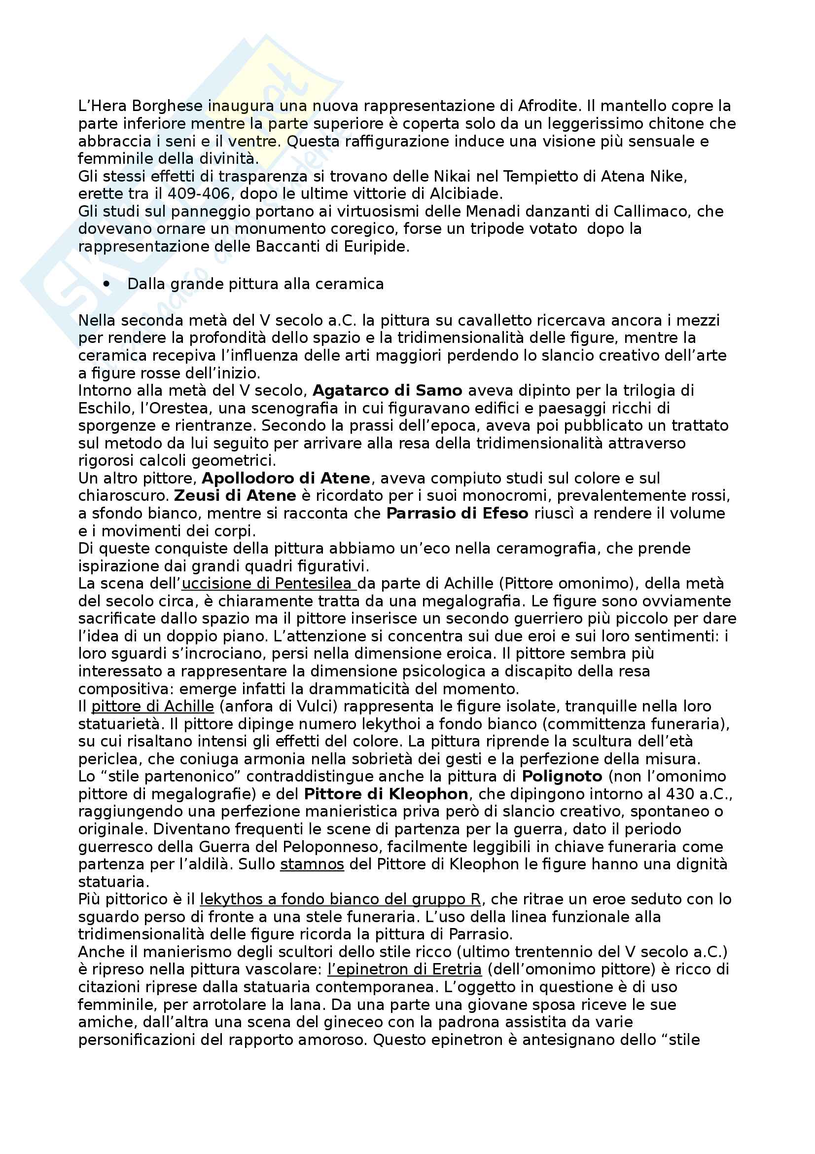 Riassunto esame Arte e Archeologia Greca, prof. Bejor, libro consigliato Arte Greca: Dal decimo al primo secolo a.C di Bejor, Castoldi e Lambrugo Pag. 46