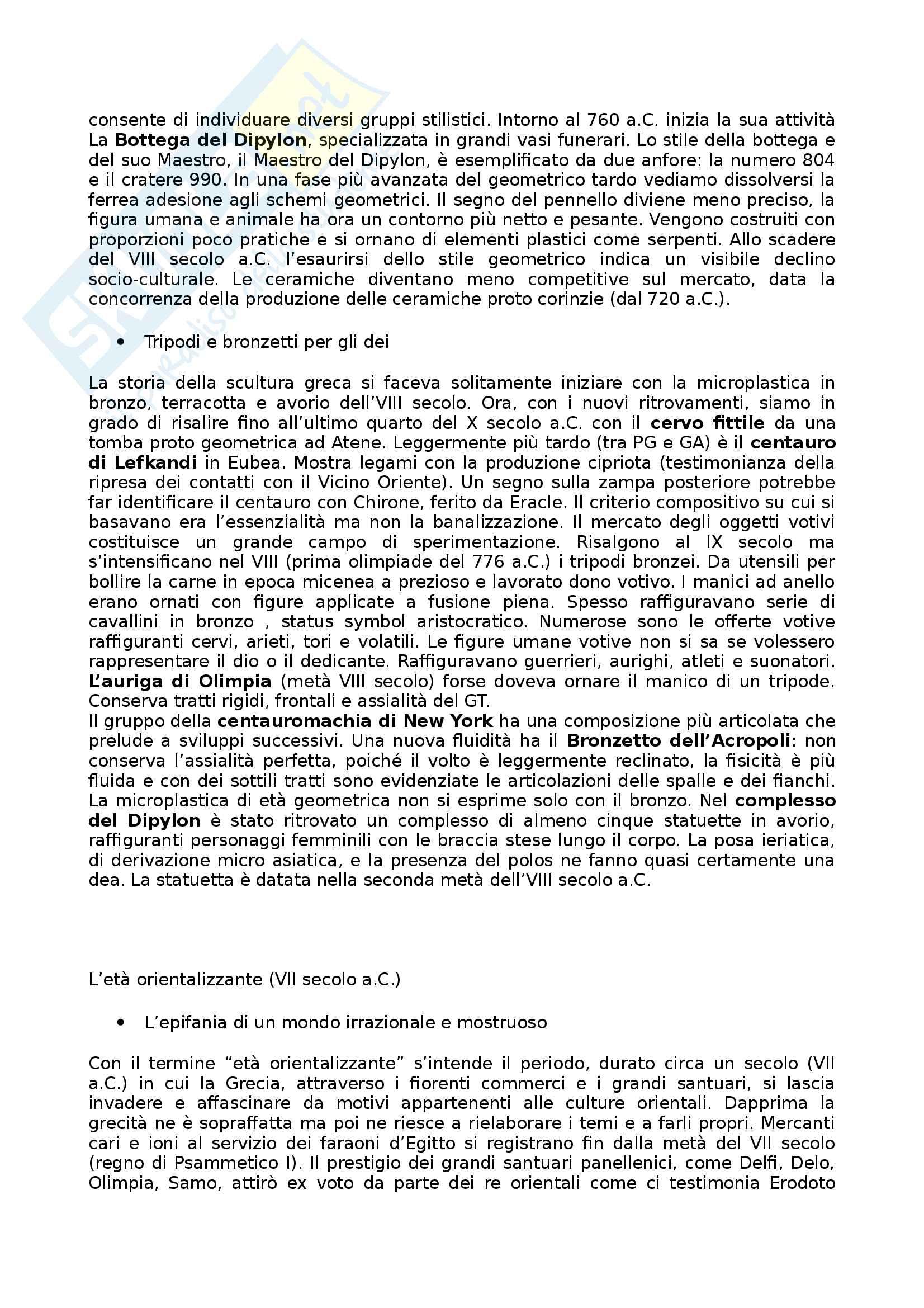 Riassunto esame Arte e Archeologia Greca, prof. Bejor, libro consigliato Arte Greca: Dal decimo al primo secolo a.C di Bejor, Castoldi e Lambrugo Pag. 6