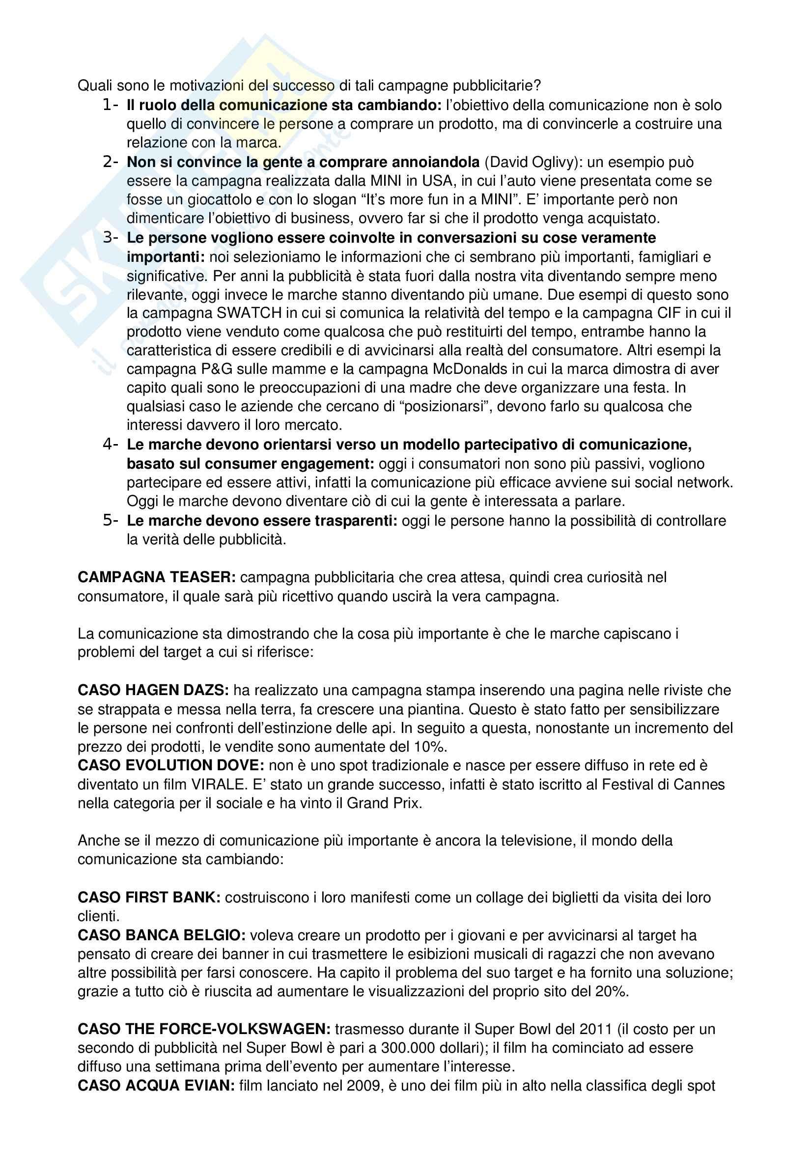 Comunicazione pubblicitaria - Appunti Pag. 2