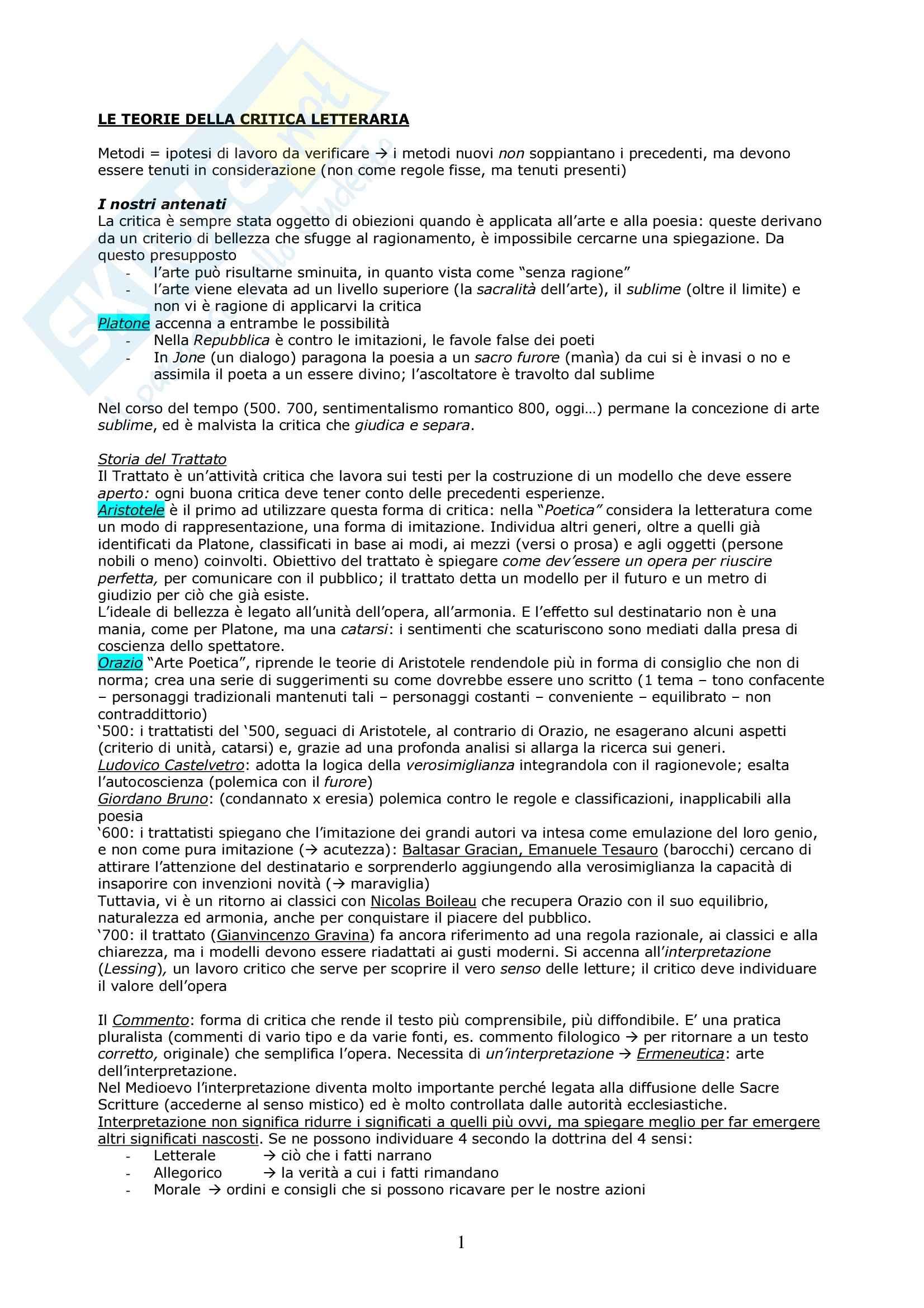 Riassunto esame Critica Letteraria, prof. Gaspari, libro consigliato Le Teorie della Critica Letteraria, Muzzioli