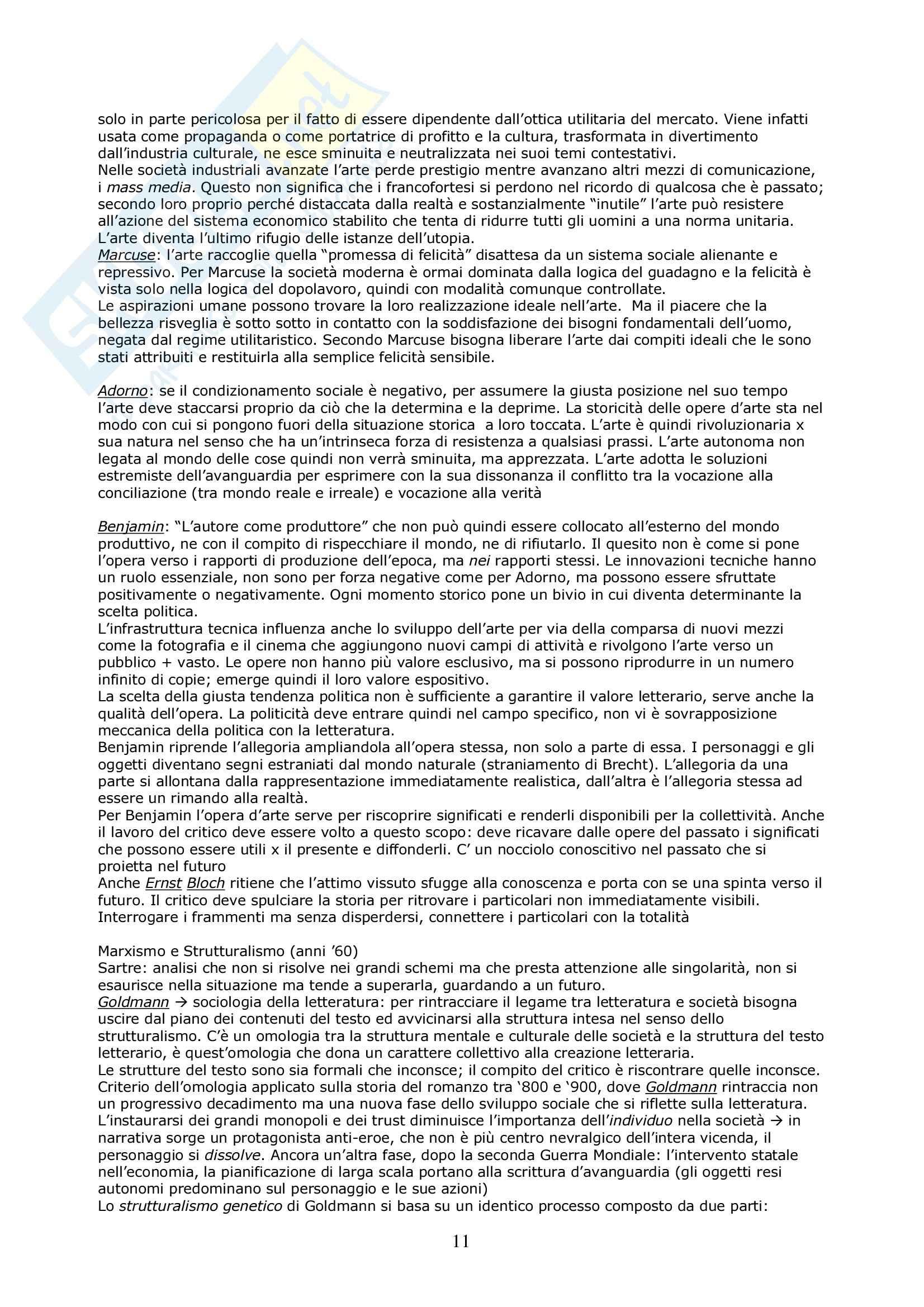 Riassunto esame Critica Letteraria, prof. Gaspari, libro consigliato Le Teorie della Critica Letteraria, Muzzioli Pag. 11