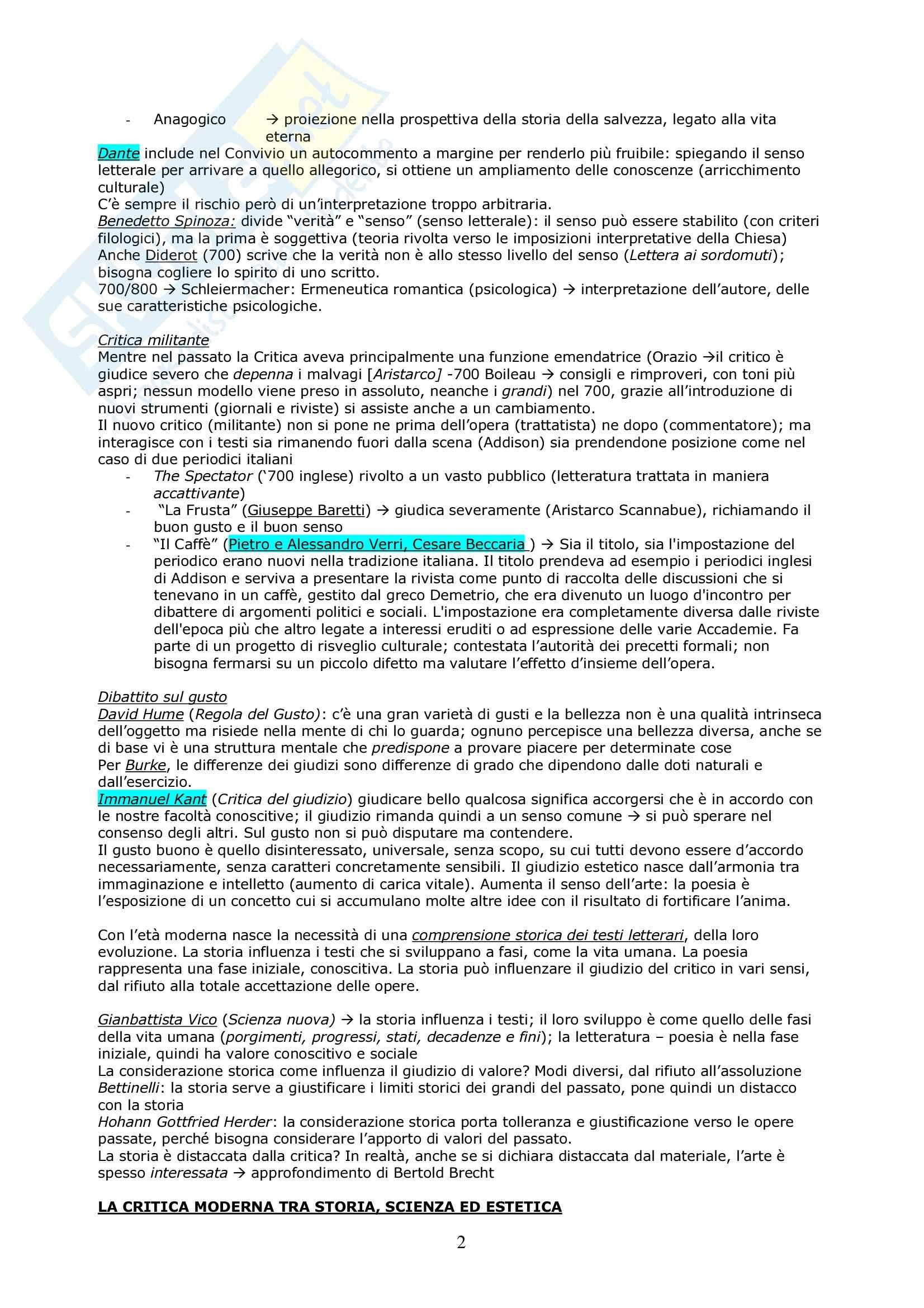 Riassunto esame Critica Letteraria, prof. Gaspari, libro consigliato Le Teorie della Critica Letteraria, Muzzioli Pag. 2