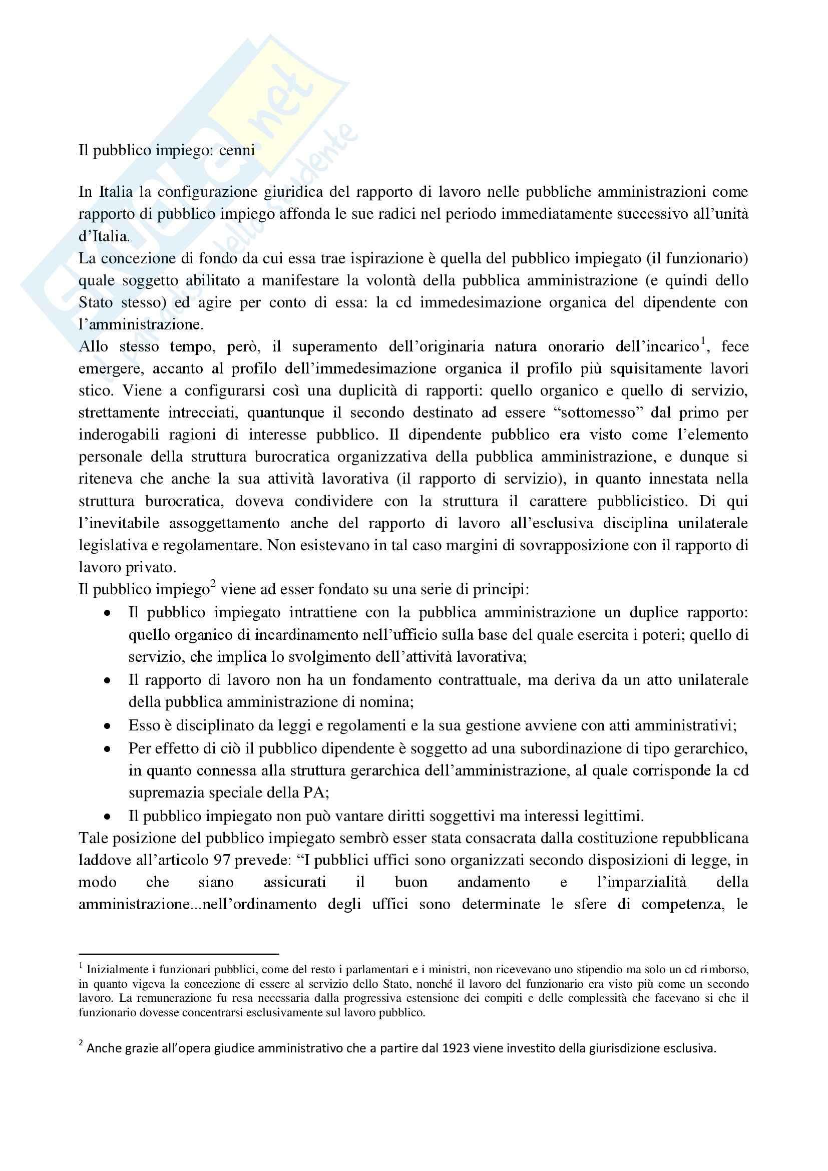 Riassunto esame Diritto del Lavoro nelle P.A., prof. D'Alessio, libro consigliato Il Lavoro Pubblico in Italia di Carabelli e Carinci