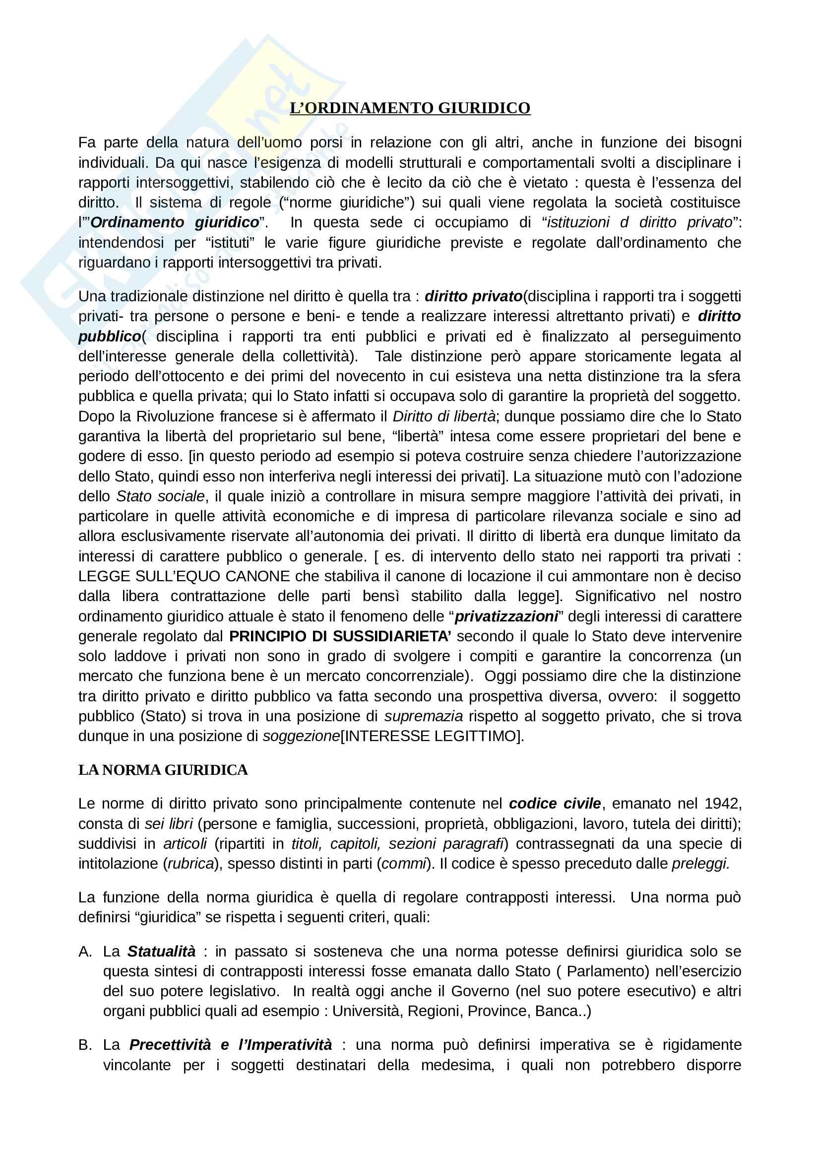 Riassunto esame di Diritto Privato, prof. Salvatore Bosa, libro consigliato: Diritto civile, Claudio Turco
