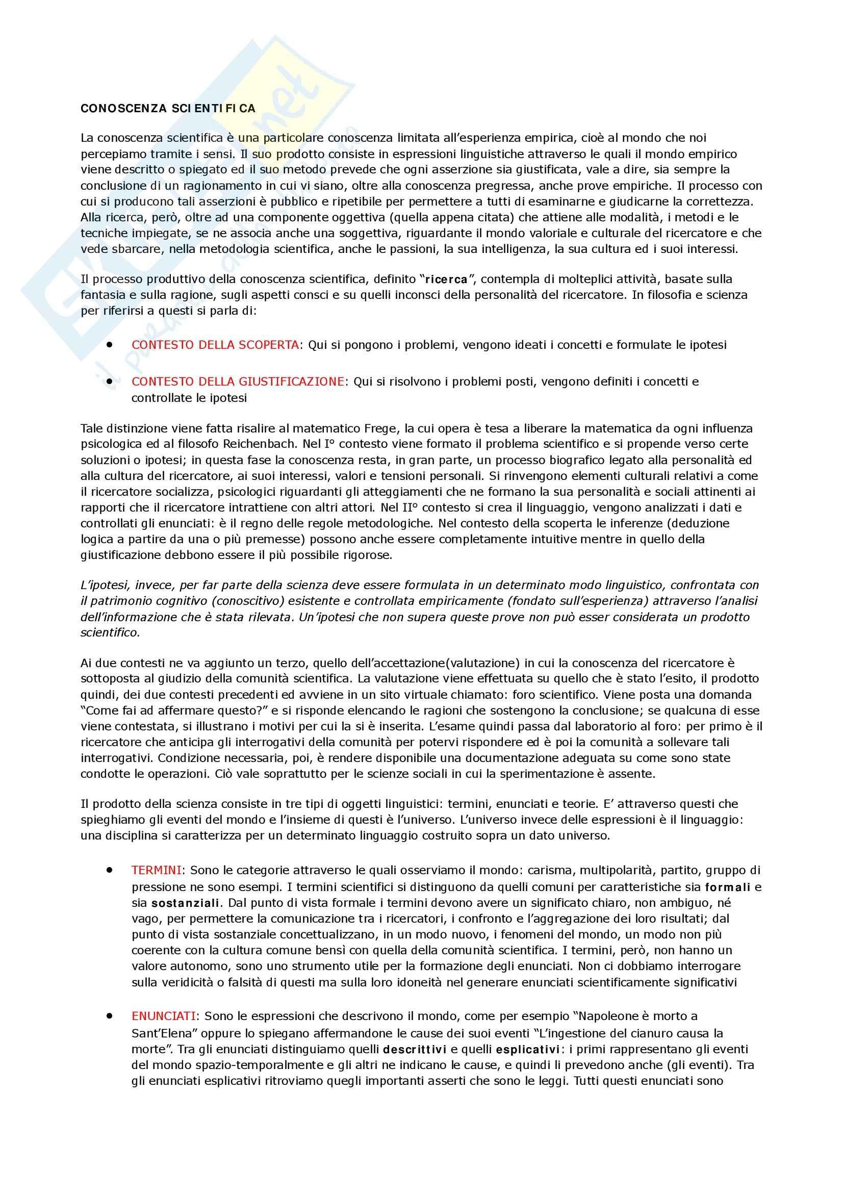 Metodologia delle scienze sociali - concetti generali