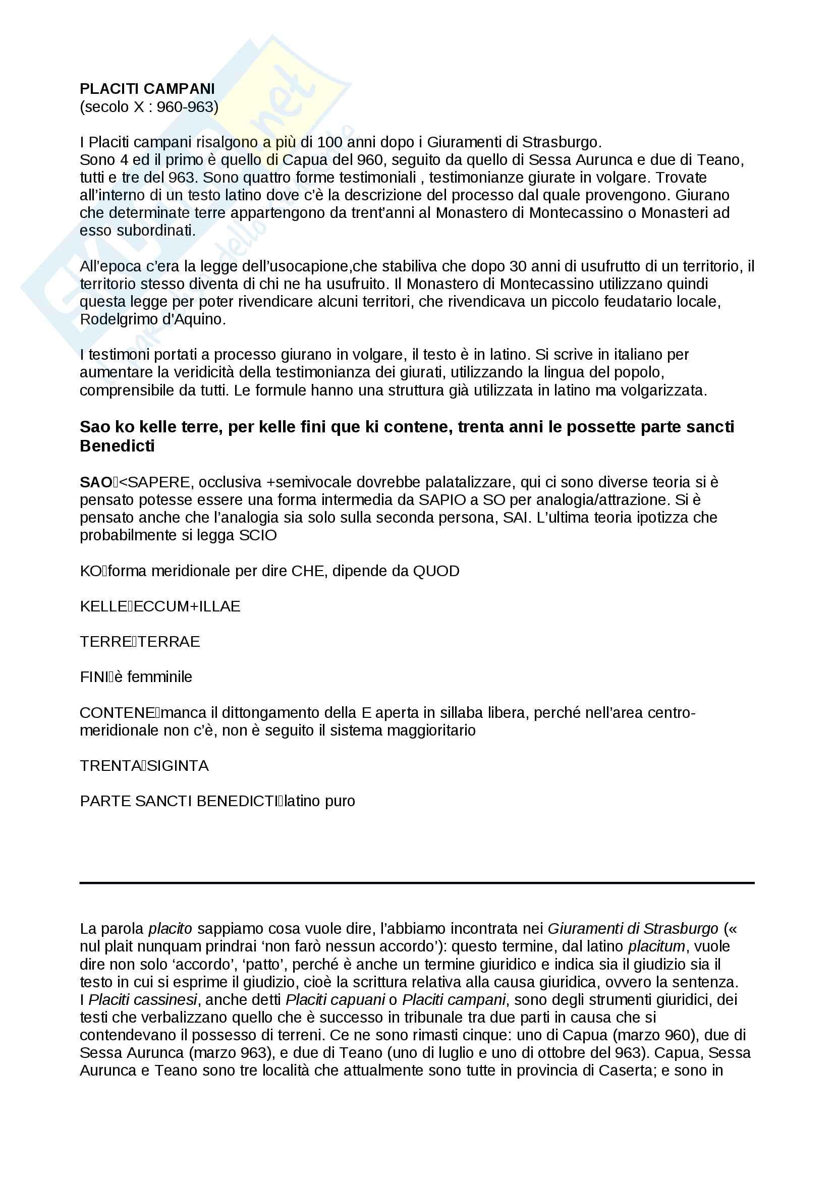 Placiti Campani - contesto storico e analisi linguistica