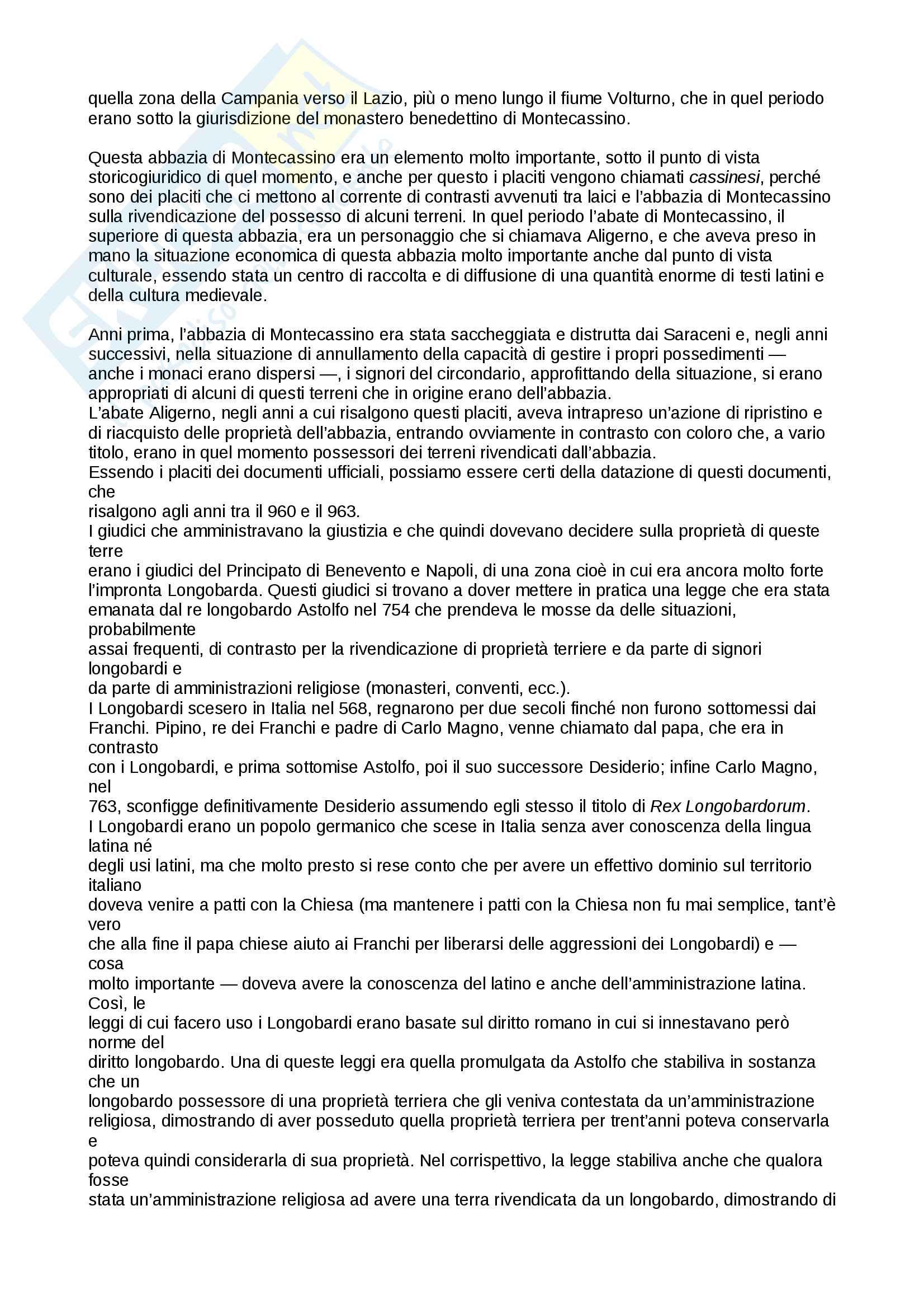 Placiti Campani - contesto storico e analisi linguistica Pag. 2