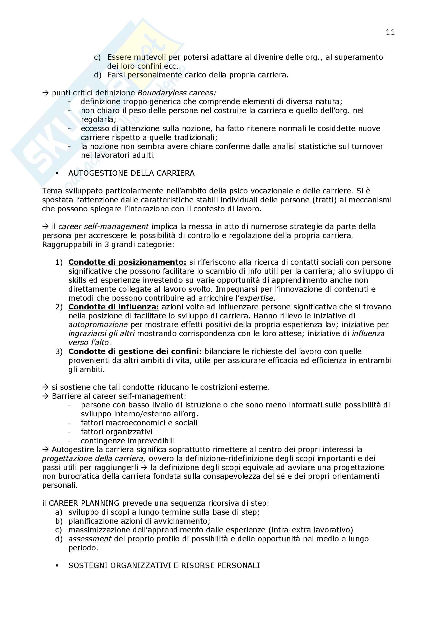 Riassunto esame Psicologia delle organizzazioni, prof. Fraccaroli, libro consigliato Sviluppare la carriera lavorativa, Toderi Sarchielli Pag. 11