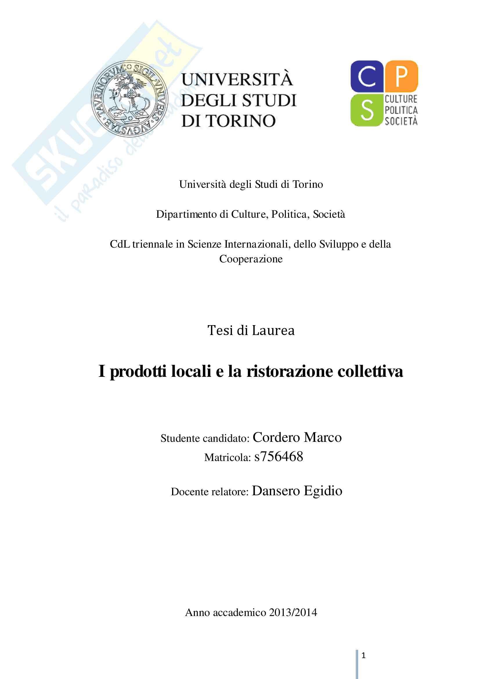 I prodotti locali e la ristorazione collettiva tesi di for Test scienze politiche