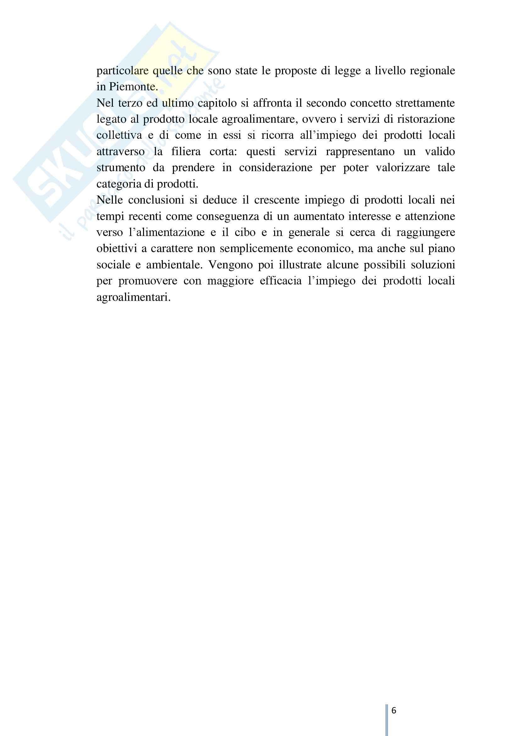 I prodotti locali e la ristorazione collettiva, Tesi triennale Pag. 6
