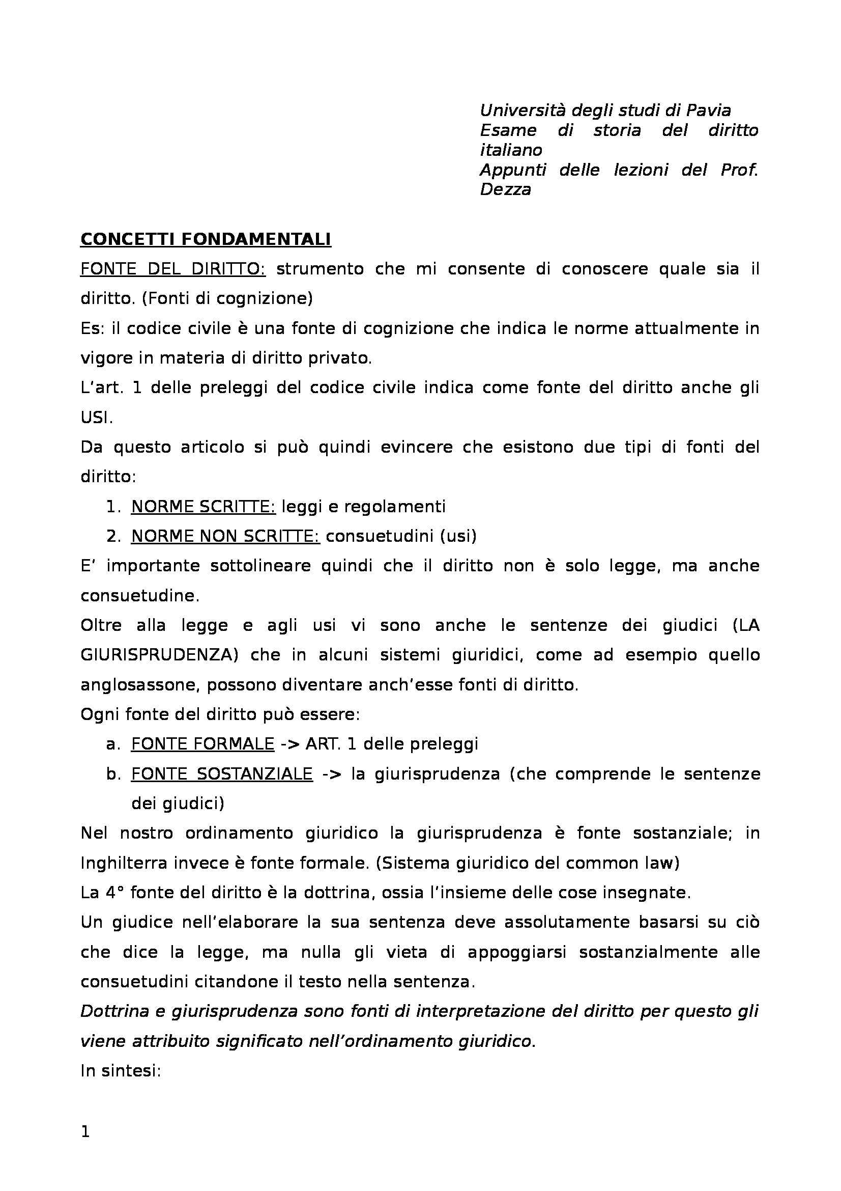 Storia del diritto italiano - Lezioni complete Dezza
