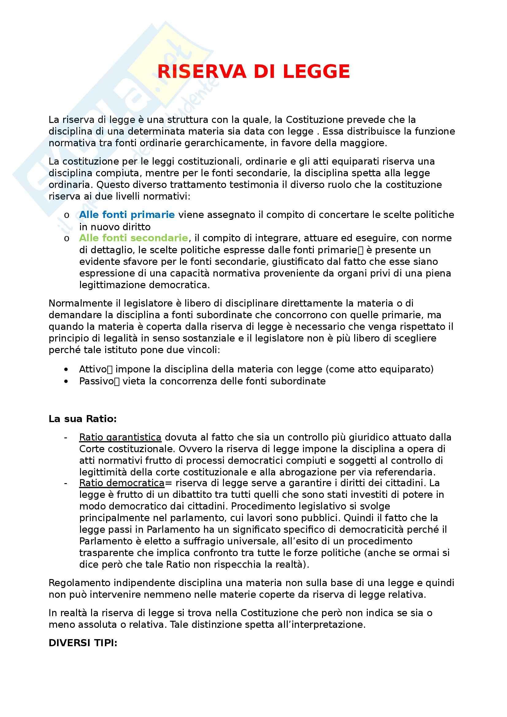 Diritto costituzionale - riserva di legge