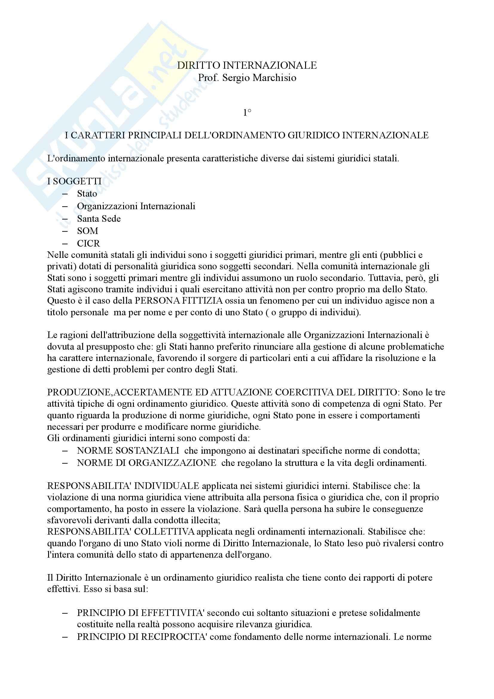 Riassunto esame diritto internazionale, prof. Marchisio