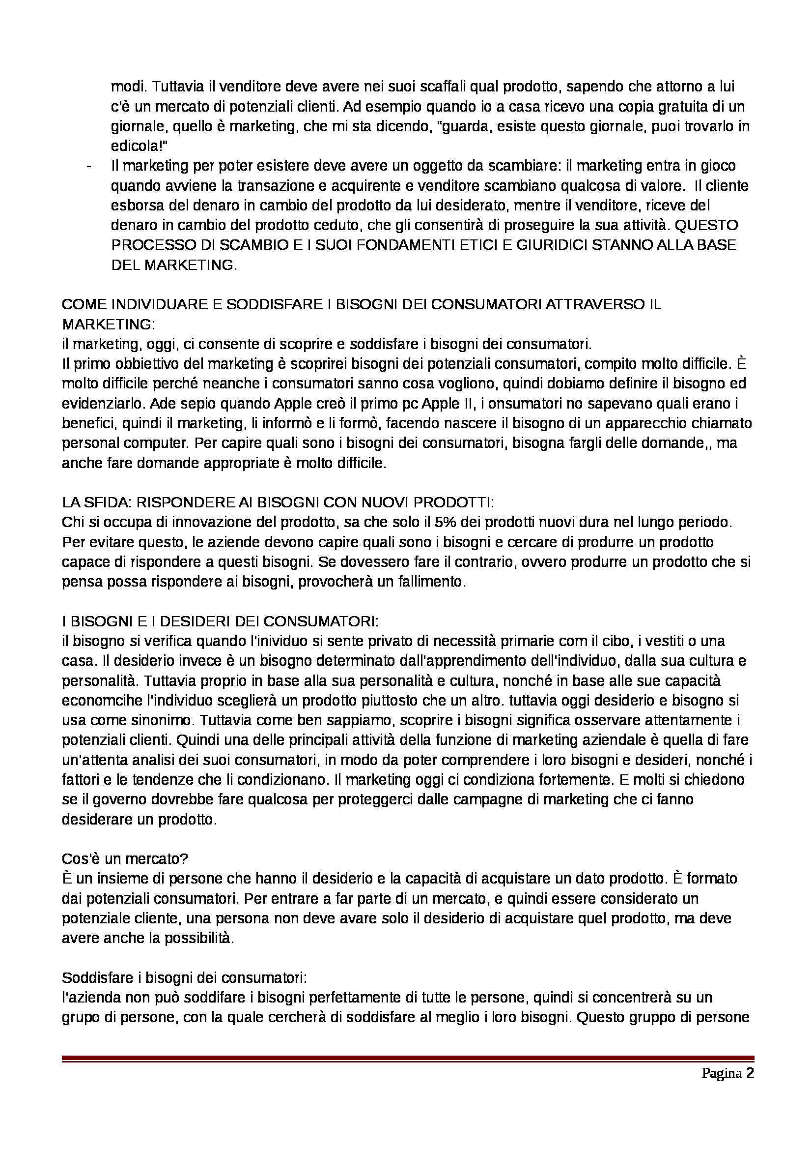 Riassunto esame Marketing, prof. Pellegrini, libro consigliato Marketing, Kerin, Hartley, Rudelius, Pellegrini Pag. 2