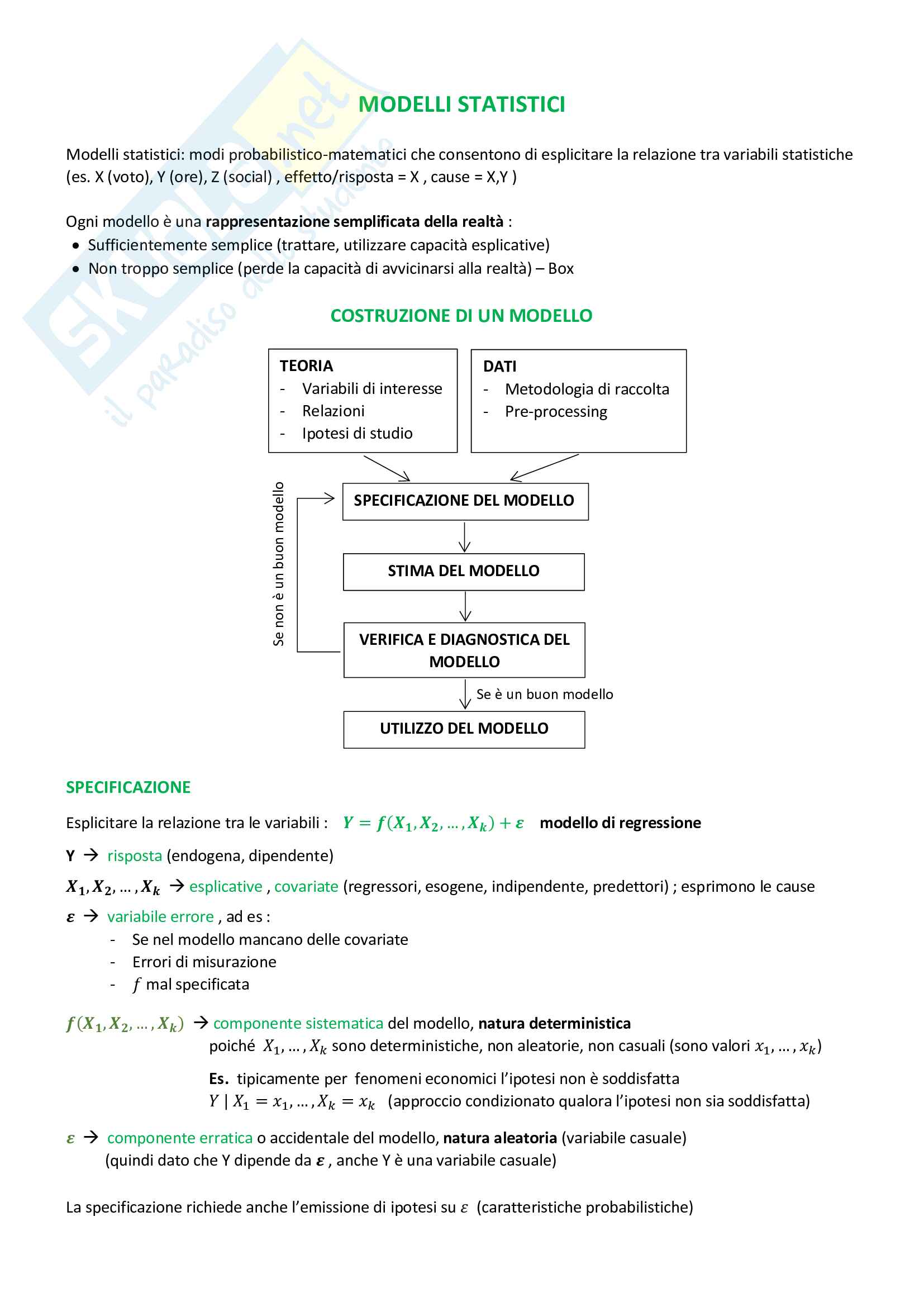 Appunti Modelli - Analisi statistica multivariata - teoria