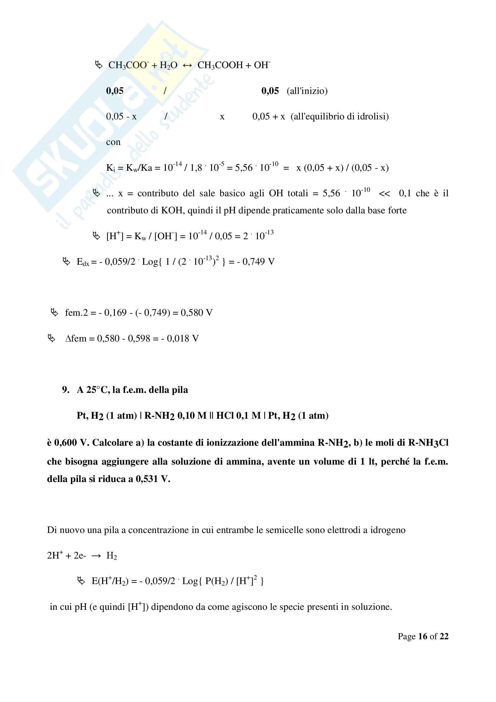 Chimica  e propedeutica biochimica - esercizi sulle pile Pag. 16