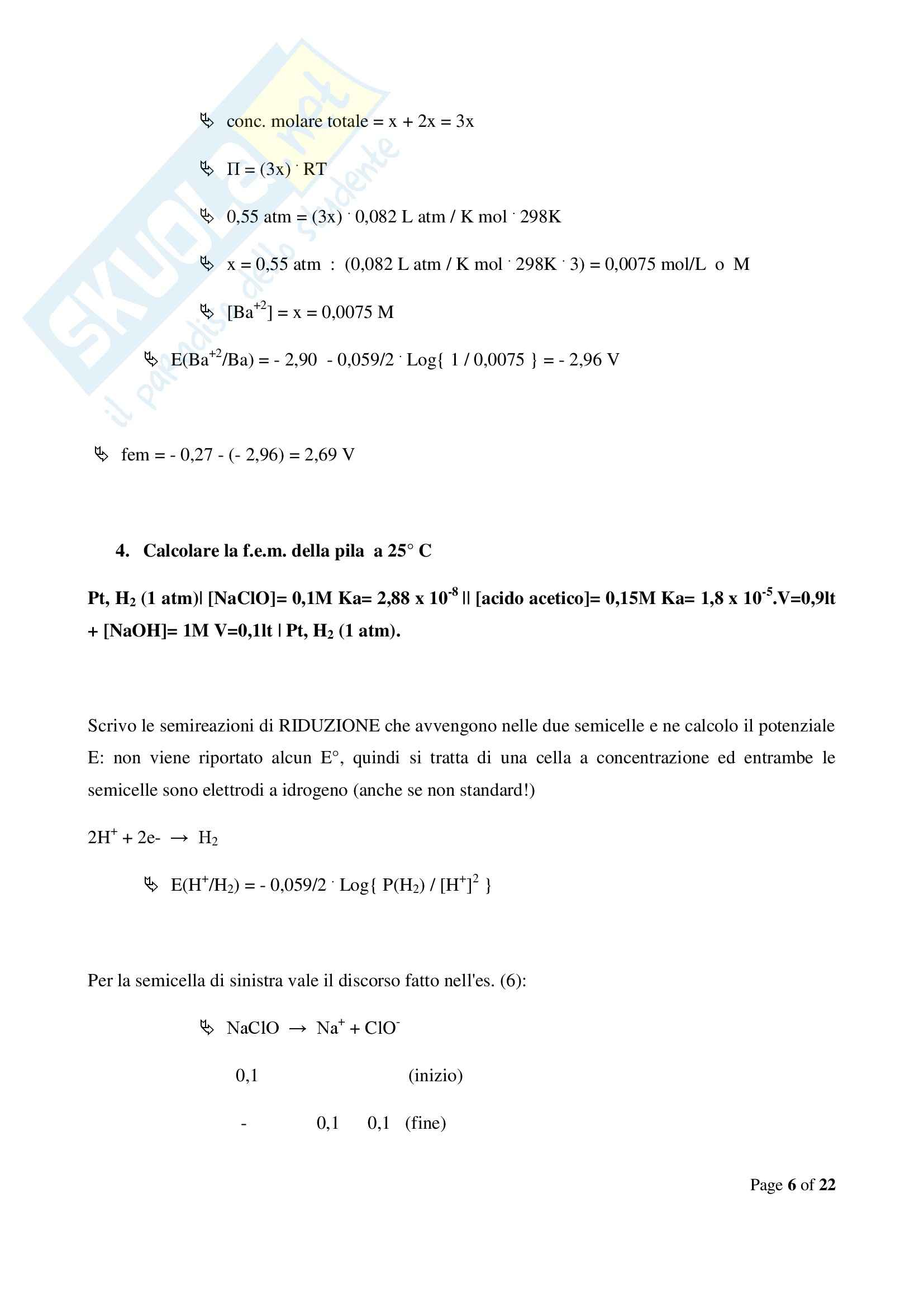 Chimica  e propedeutica biochimica - esercizi sulle pile Pag. 6