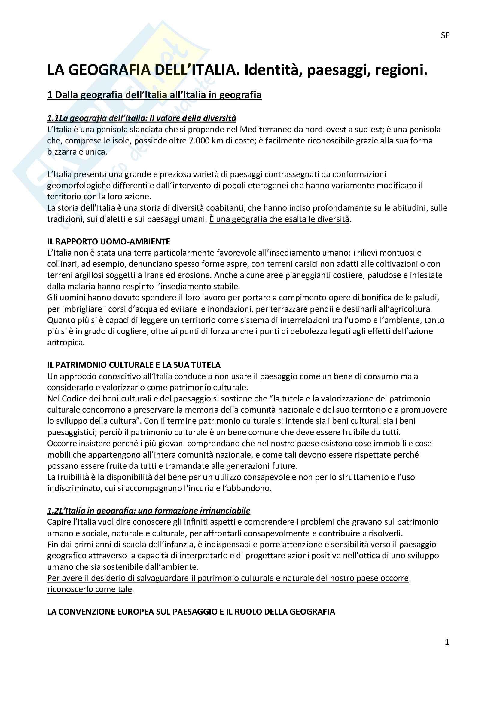Riassunto esame geografia, docente Molinari, libro consigliato La geografia dell'Italia,Pasquinelli, d'Allegra
