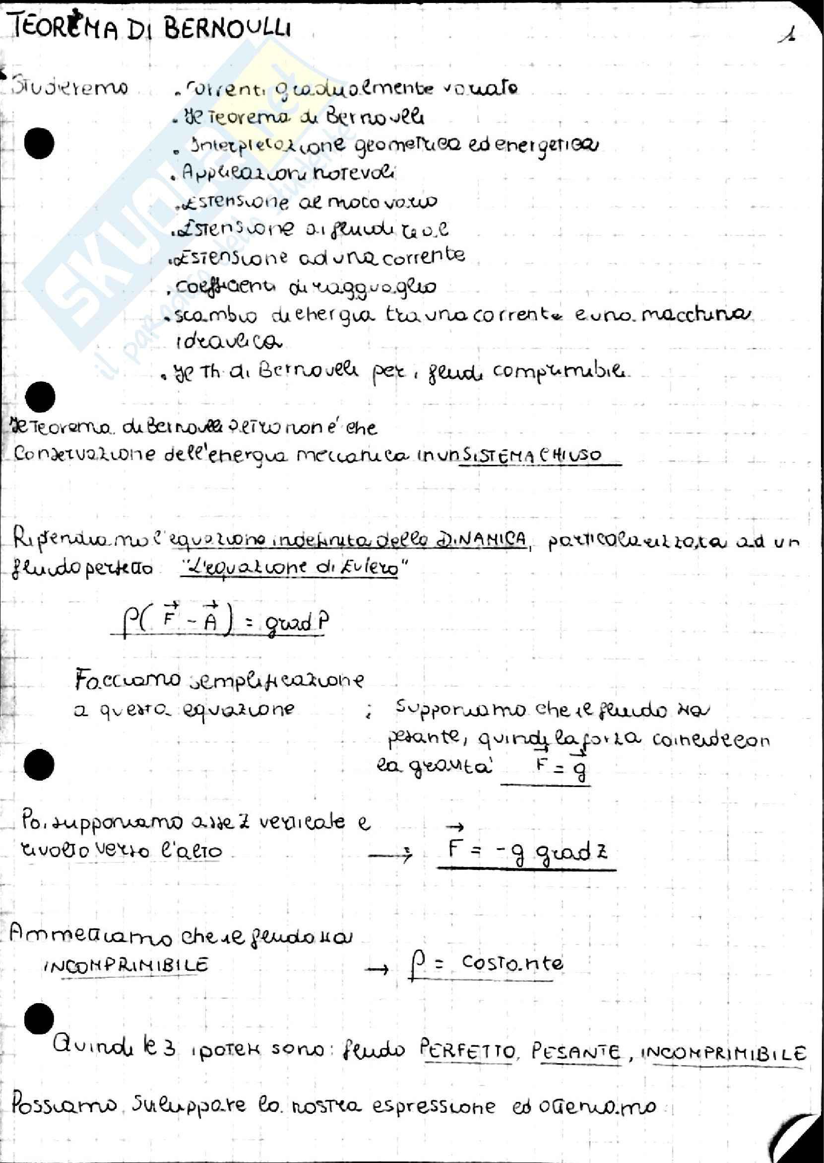 Teorema di Bernoulli, Idraulica