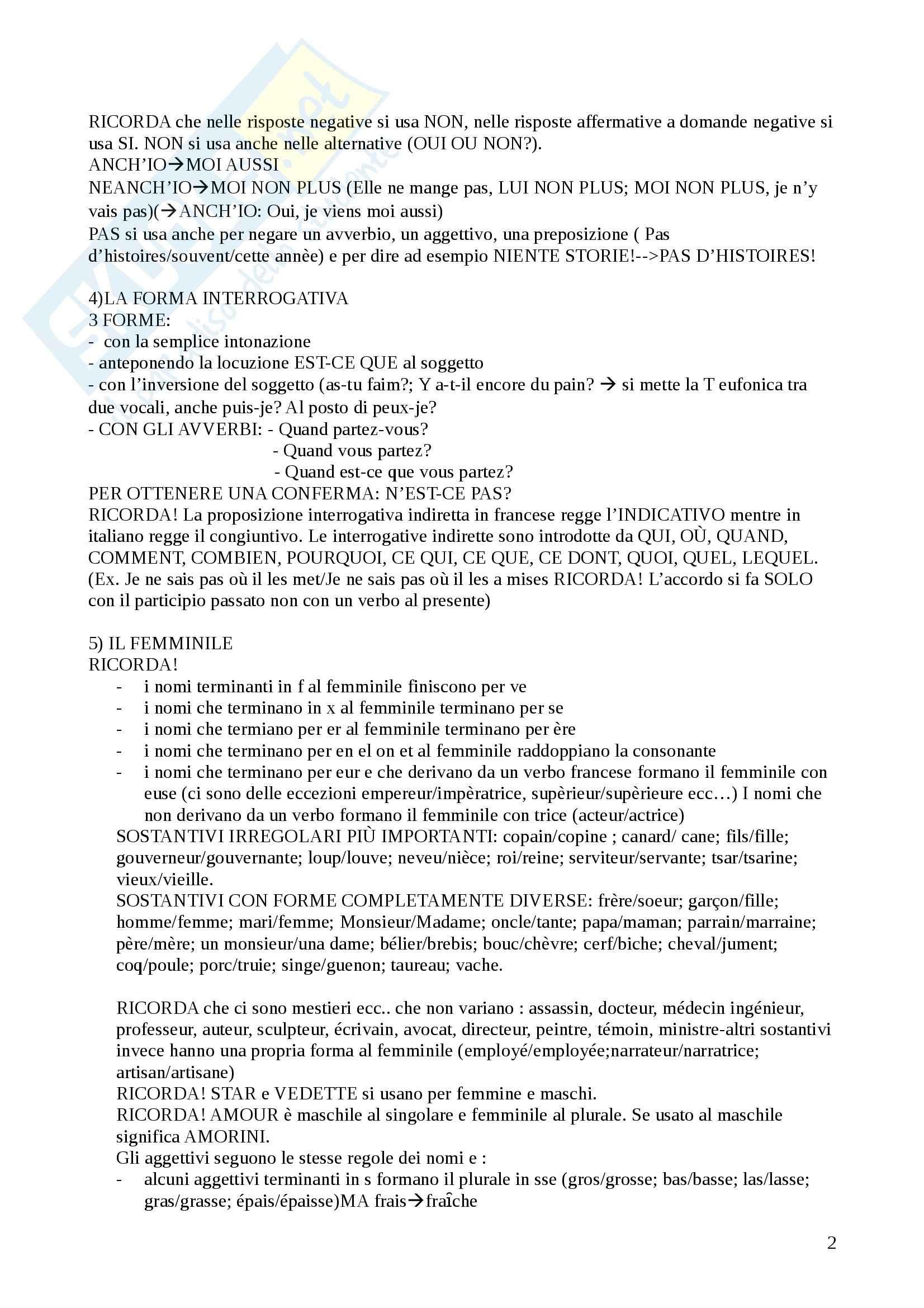 Lingua francese - Appunti Pag. 2