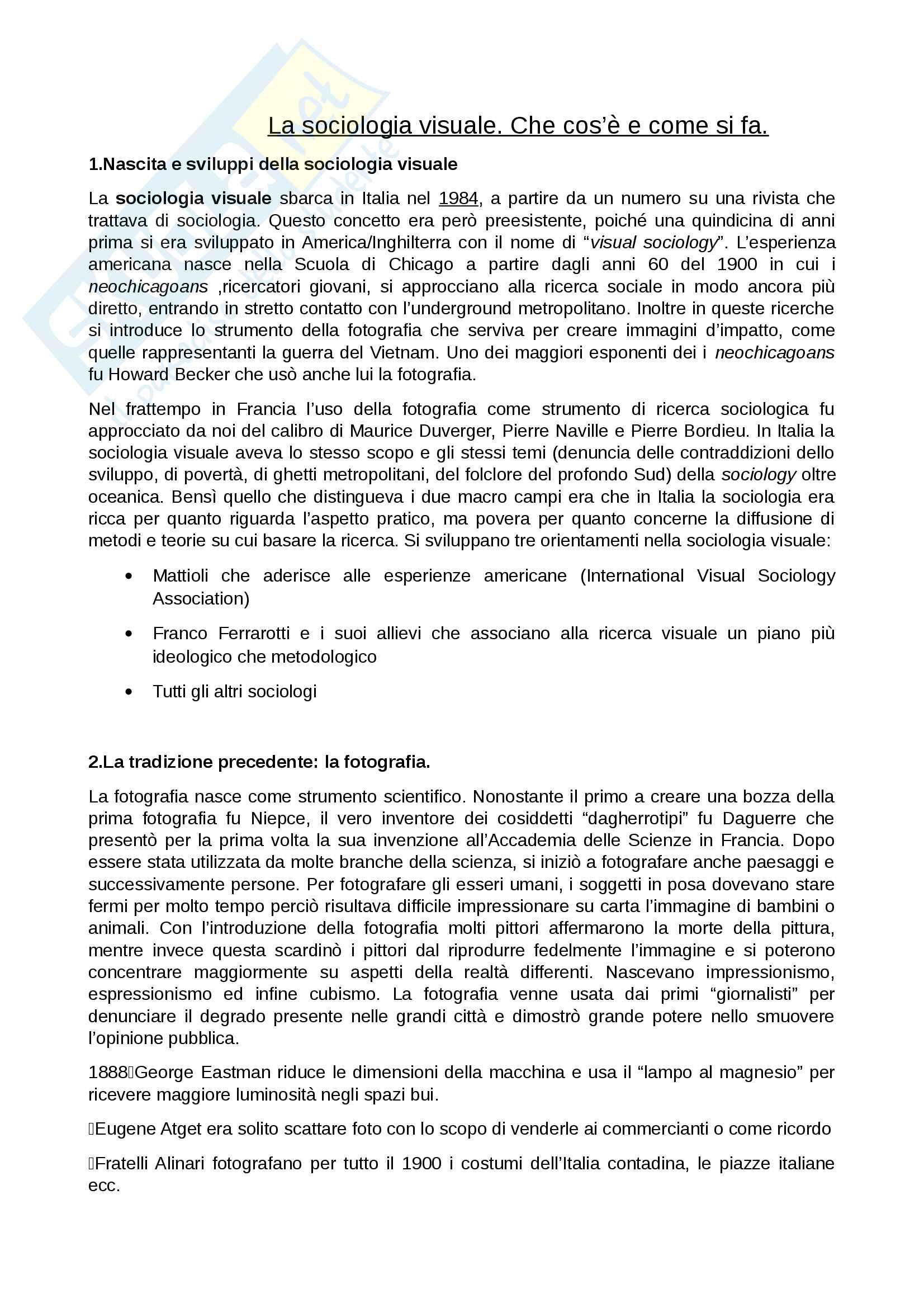 Riassunto esame Sociologia visuale, prof. Mattioli,libro consigliato La sociologia visuale, Francesco Mattioli