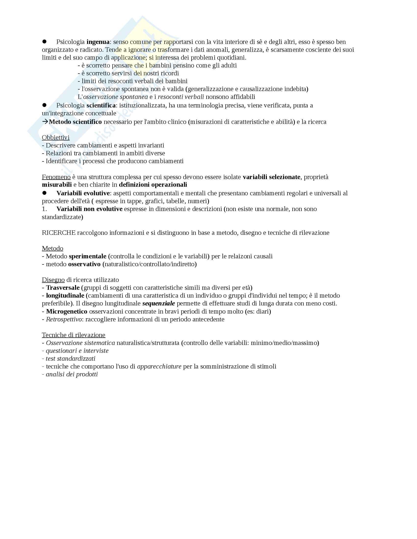 Metodo psicologia dello sviluppo, prof. Zanobini