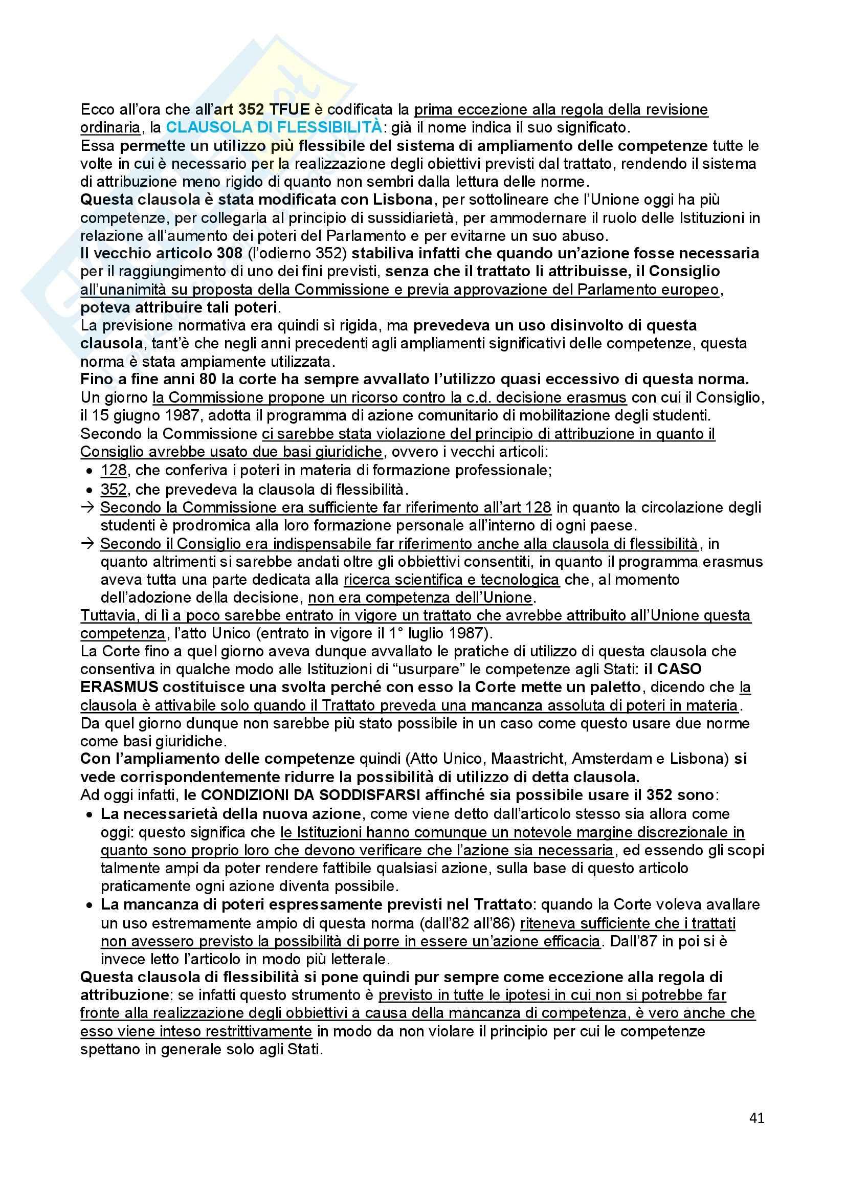 Riassunto esame Diritto dell'Unione Europea, prof. Baruffi, libro consigliato Tesauro Pag. 41