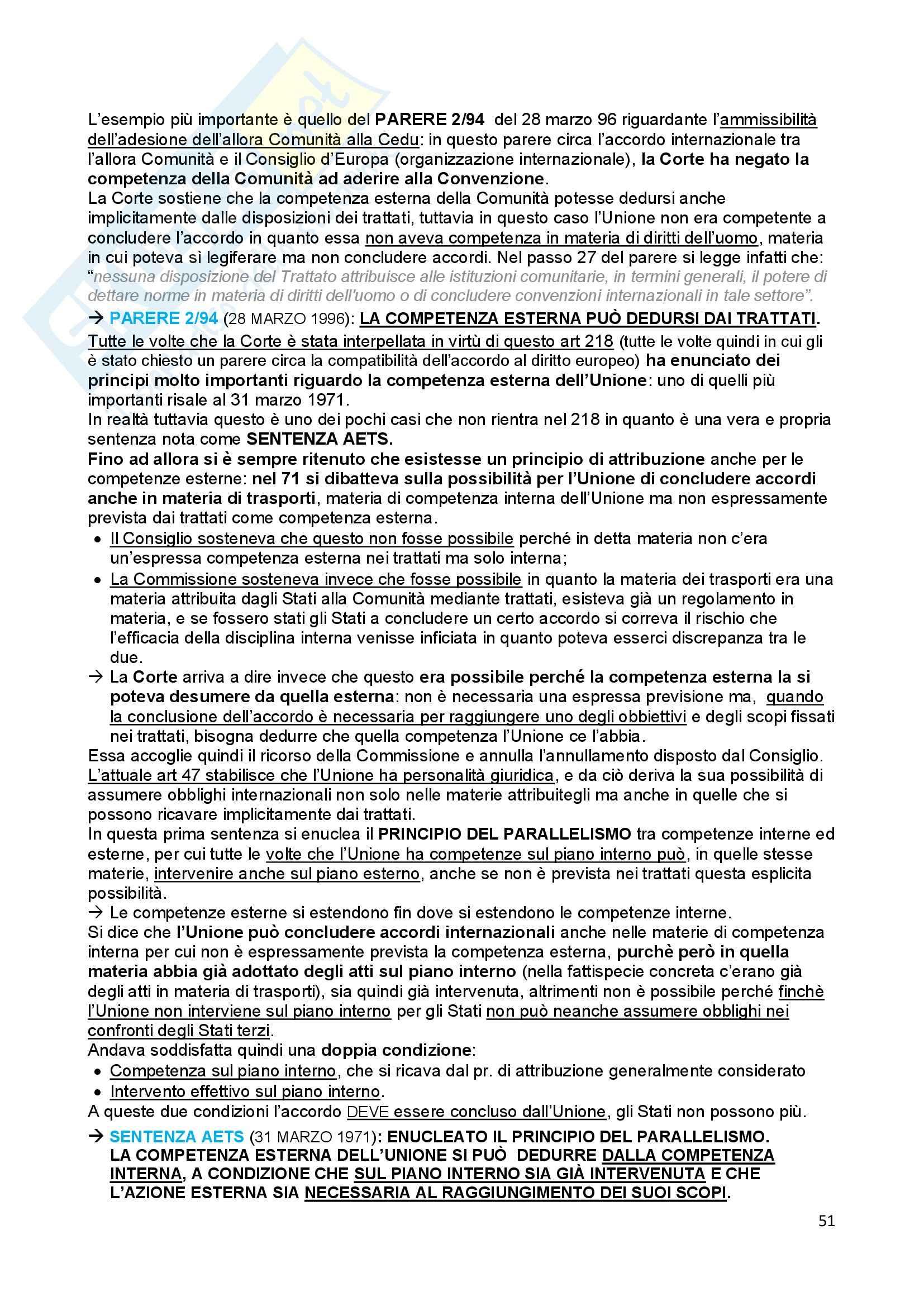 Riassunto esame Diritto dell'Unione Europea, prof. Baruffi, libro consigliato Tesauro Pag. 51