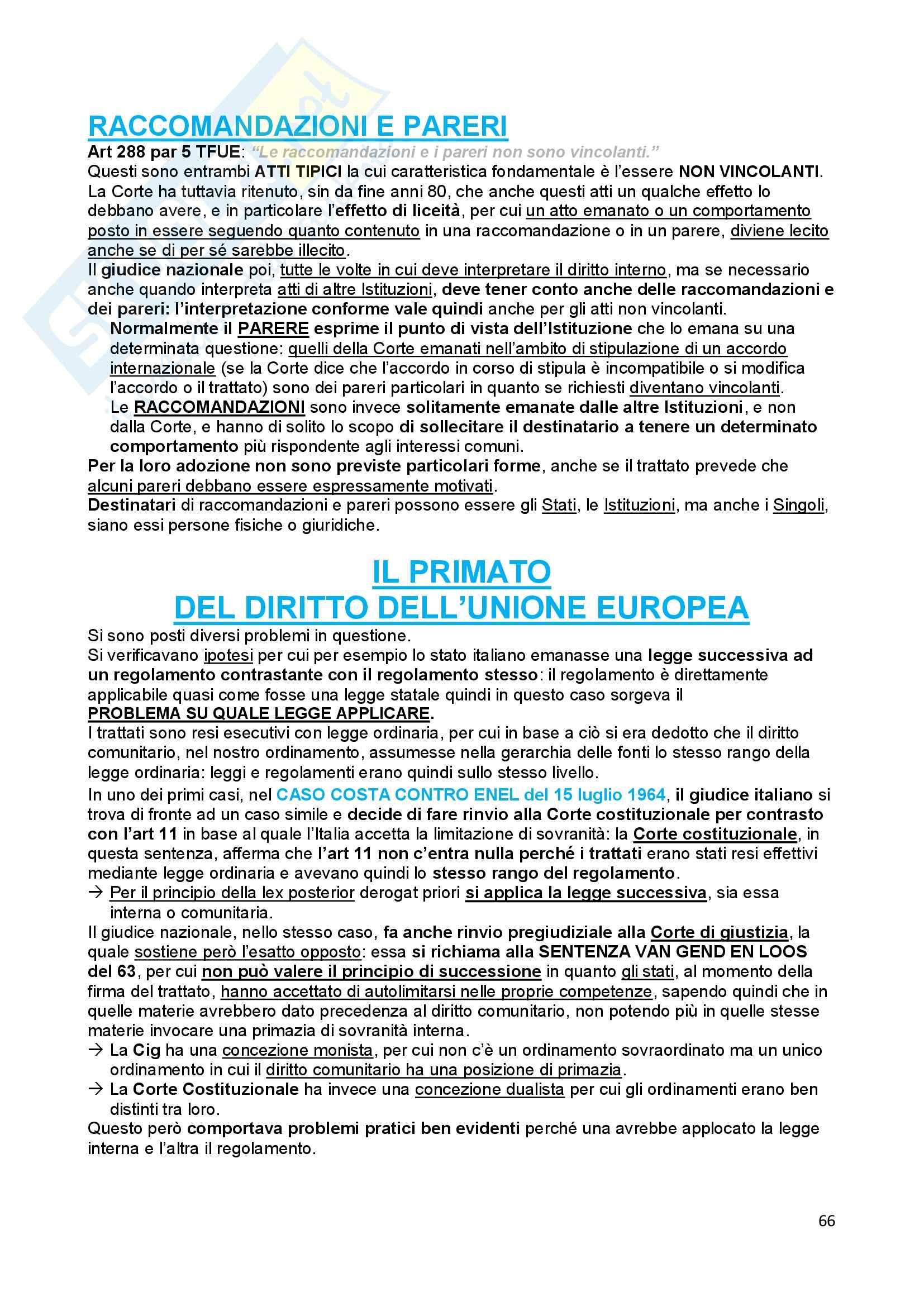 Riassunto esame Diritto dell'Unione Europea, prof. Baruffi, libro consigliato Tesauro Pag. 66