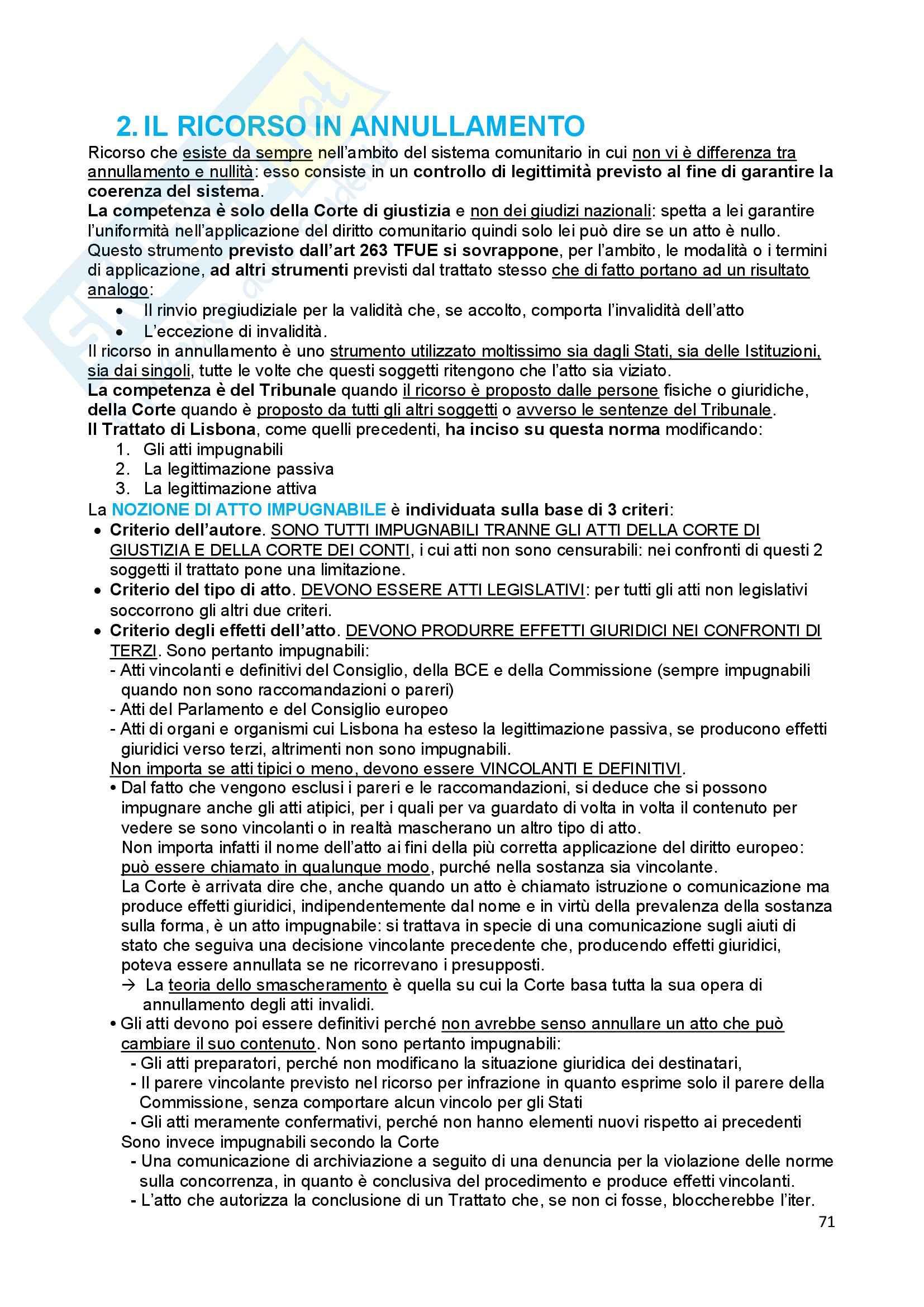 Riassunto esame Diritto dell'Unione Europea, prof. Baruffi, libro consigliato Tesauro Pag. 71