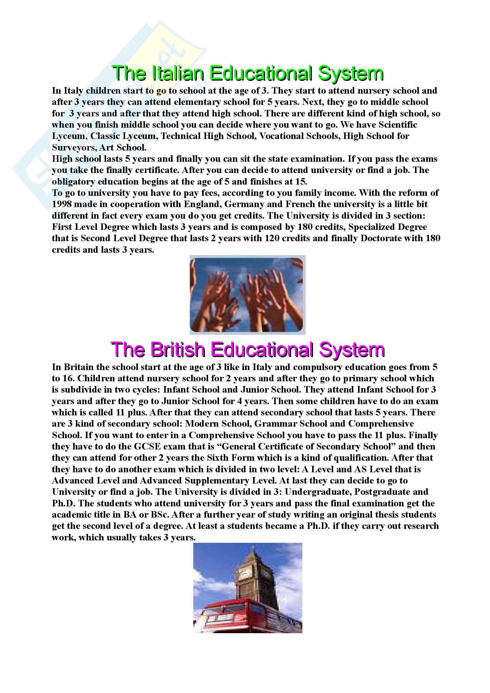 Lingua inglese - The Italian Educational System