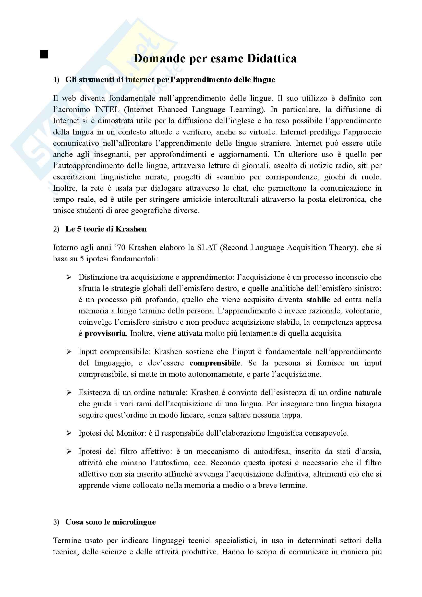 esercitazione M. Luise Didattica delle lingue straniere