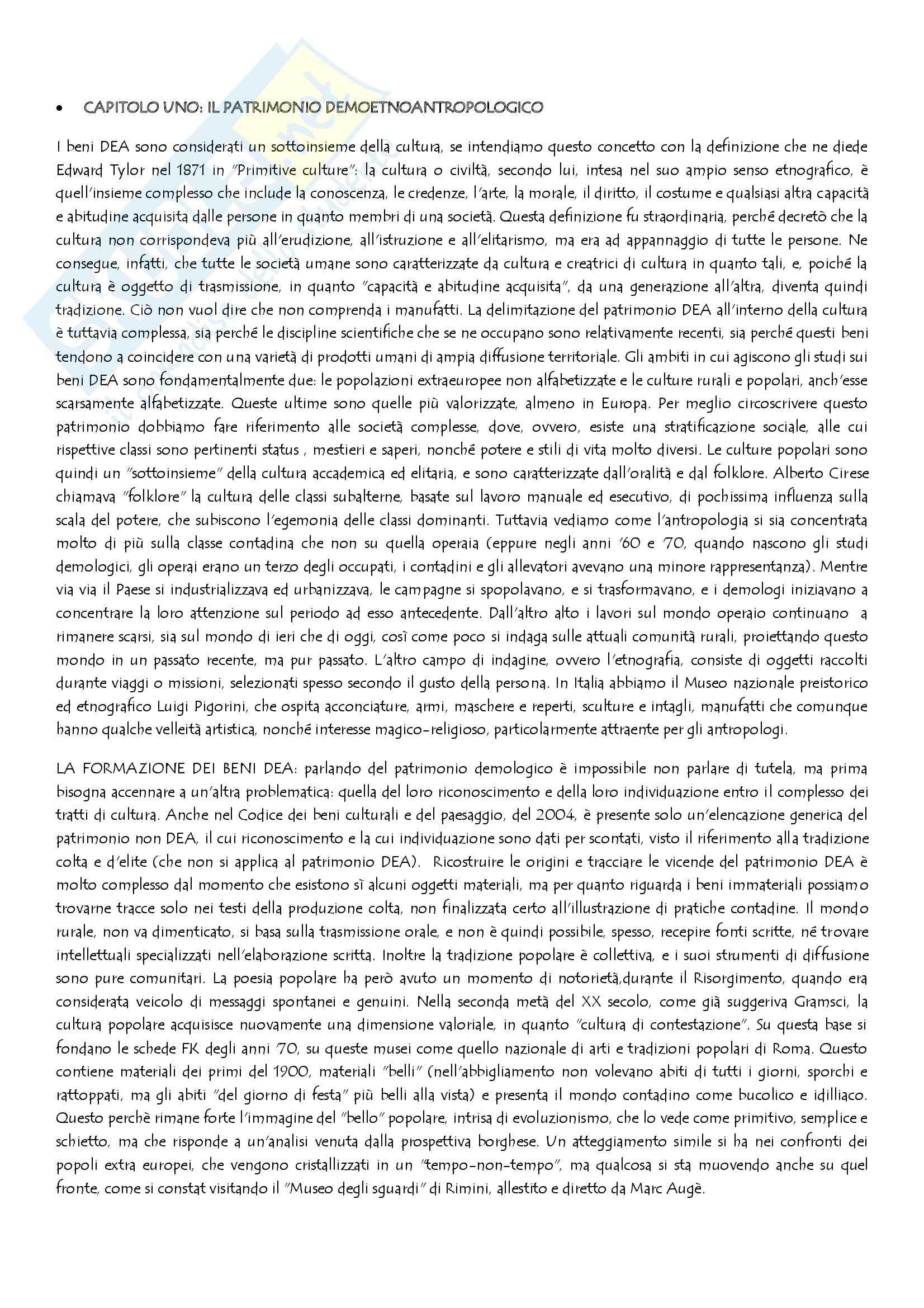 Riassunto esame Antropologia, prof. Rossi, libro consigliato I beni DEA, Bravo, Tucci