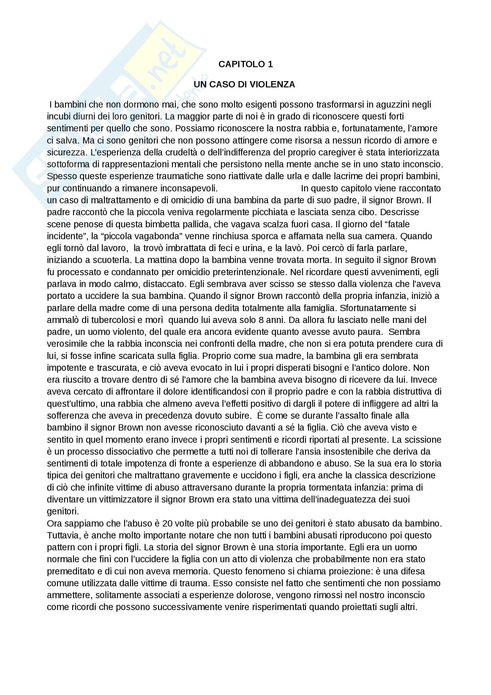 Riassunto esame Modelli psicodinamici, prof. Giannone, libro consigliato Dal dolore alla violenza: Le origini traumatiche dell'aggressività, De Zulueta