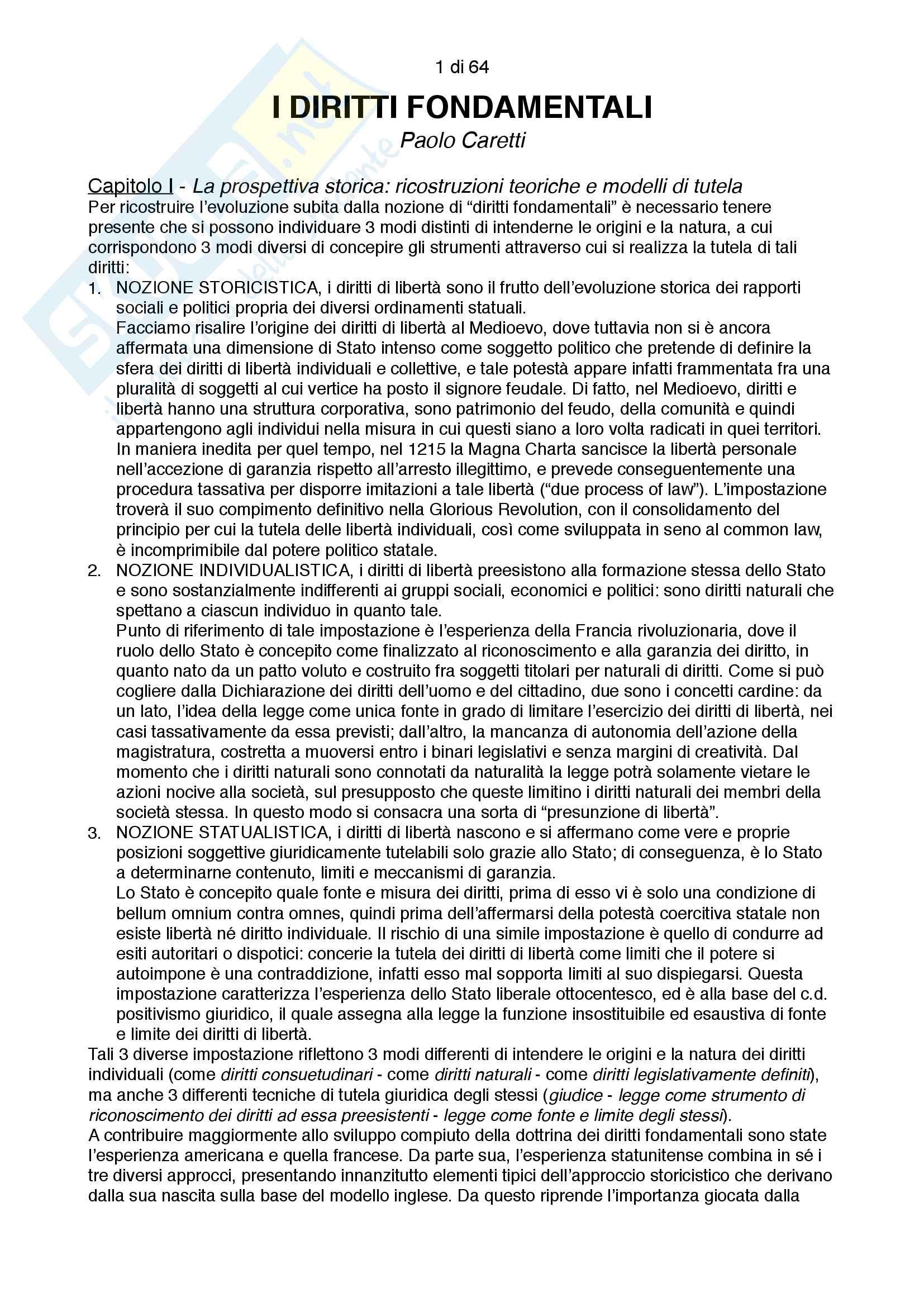Riassunto esame costituzionale II, testo consigliato I diritti fondamentali, autore Paolo Caretti