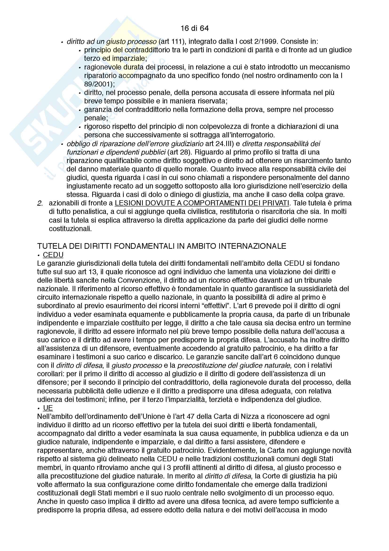 Riassunto esame costituzionale II, testo consigliato I diritti fondamentali, autore Paolo Caretti Pag. 16