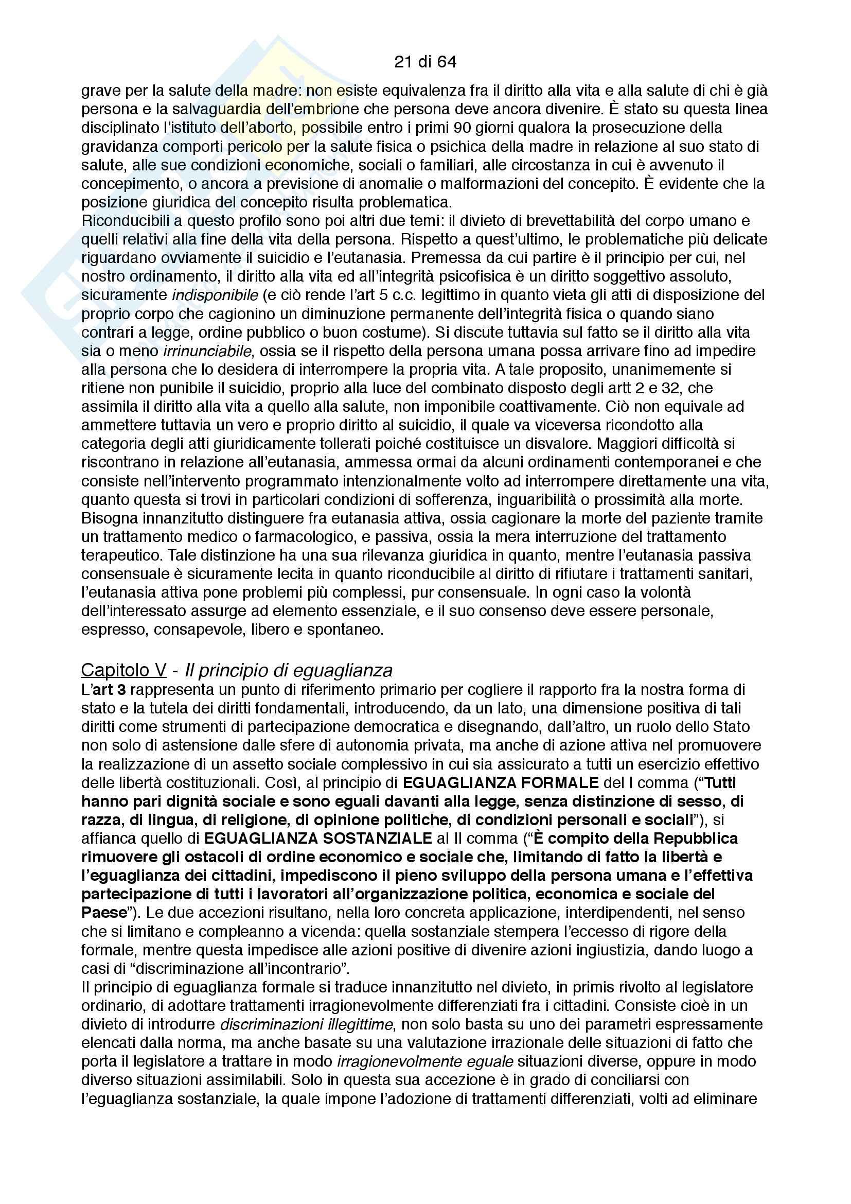Riassunto esame costituzionale II, testo consigliato I diritti fondamentali, autore Paolo Caretti Pag. 21