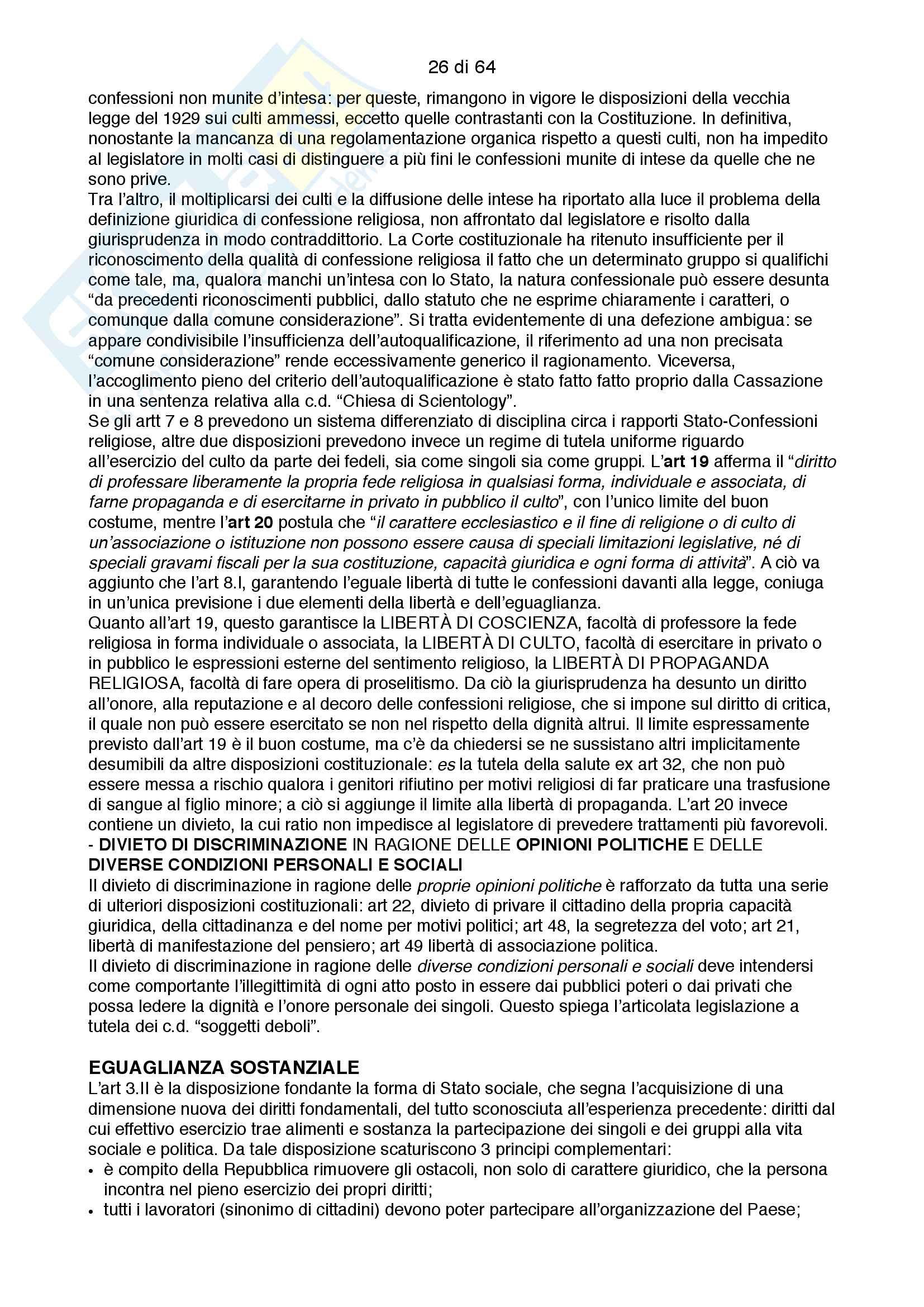 Riassunto esame costituzionale II, testo consigliato I diritti fondamentali, autore Paolo Caretti Pag. 26
