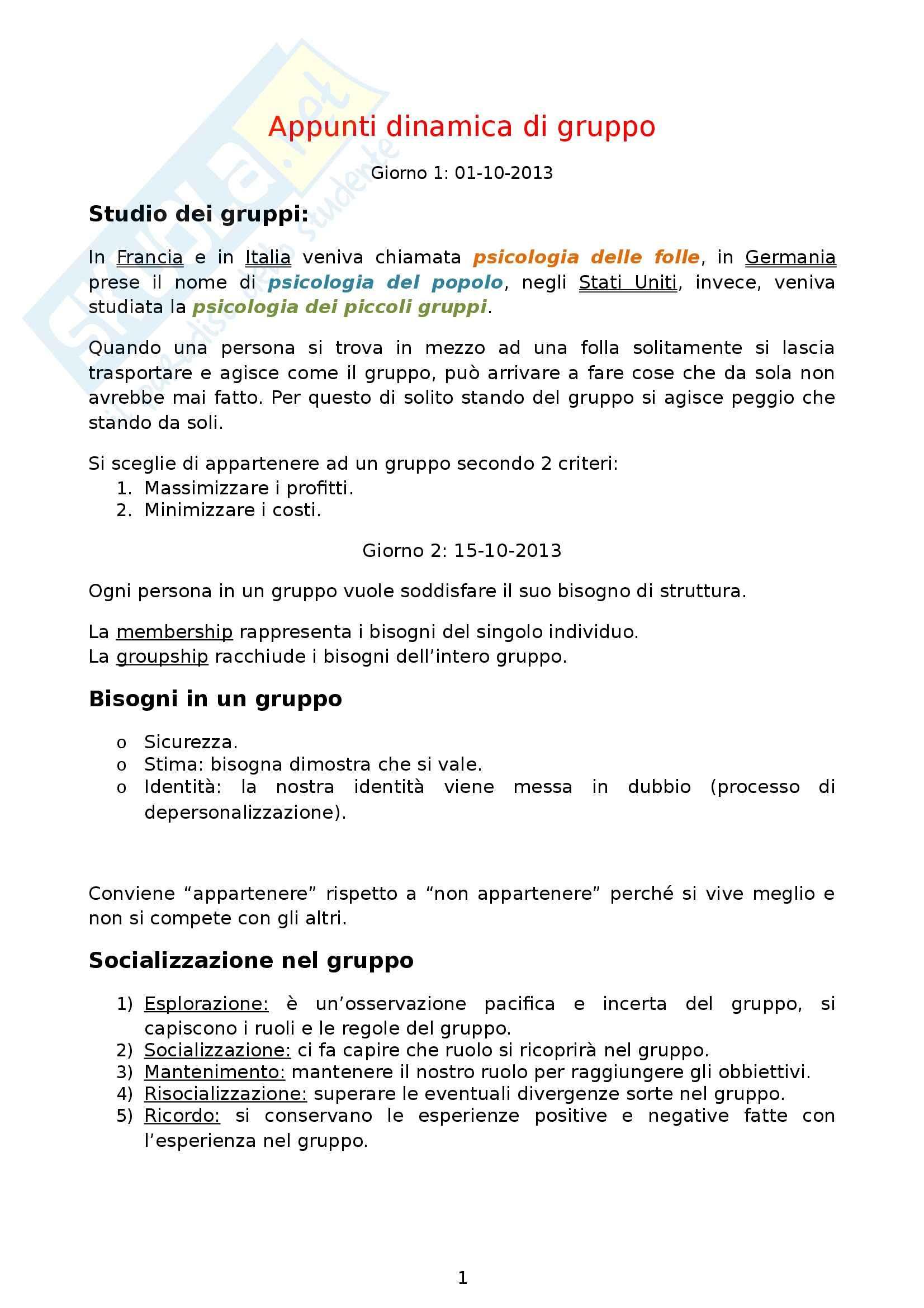 Laboratorio dinamica di gruppo