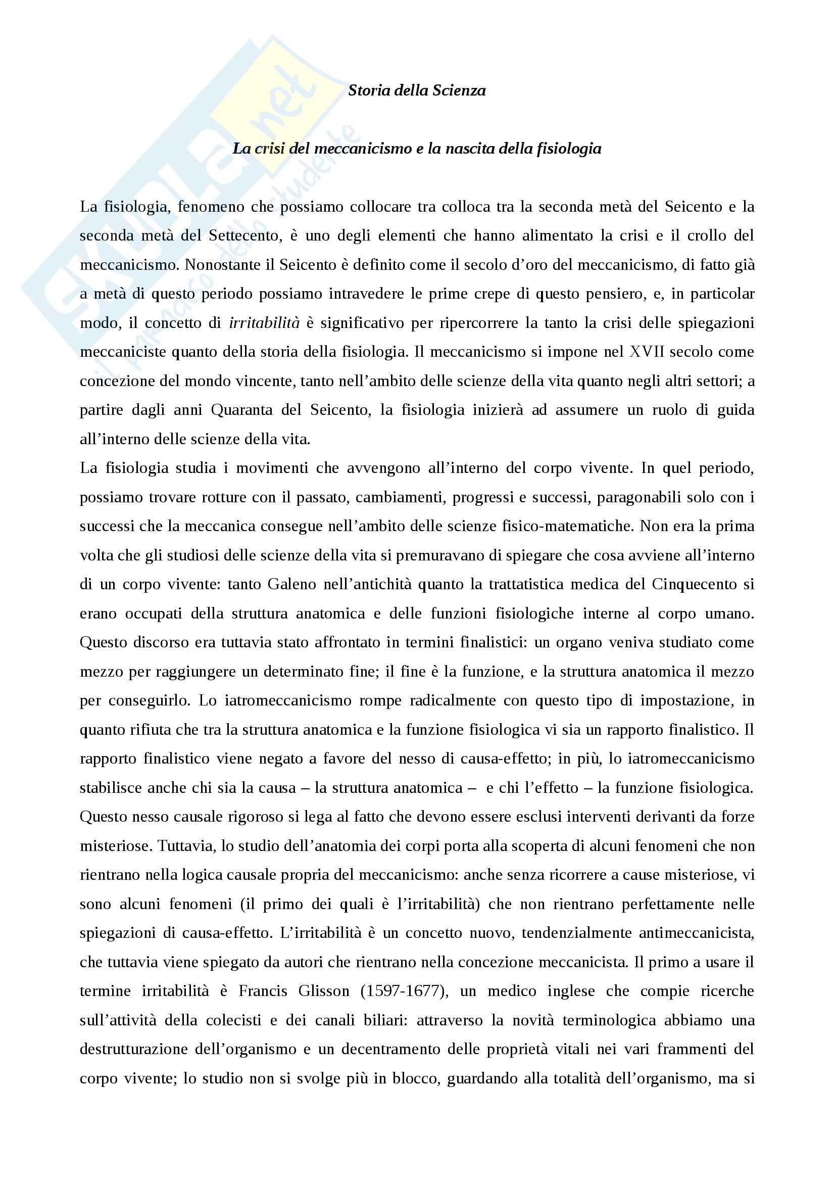 Riassunto esame storia della scienza, prof. Monti per esame di storia della scienza dell'età moderna nascita della fisiologia e meccanicismo