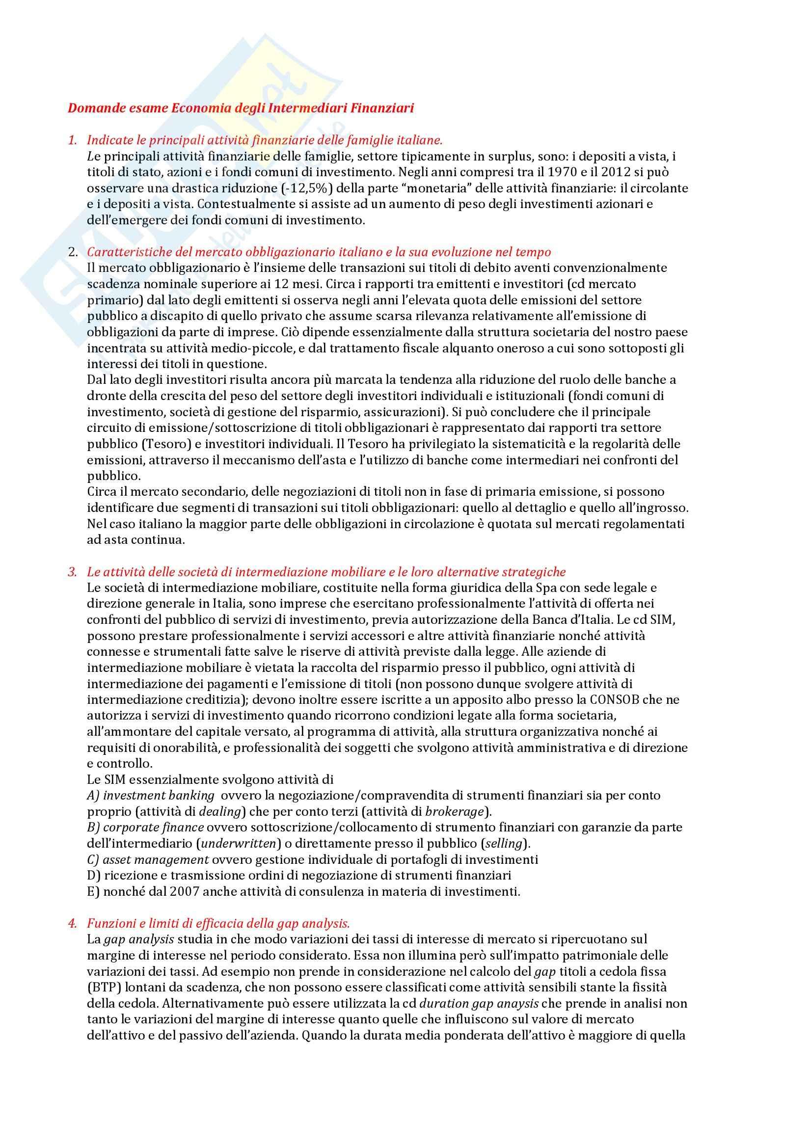 Domande esame Economia degli Intermediari Finanziari