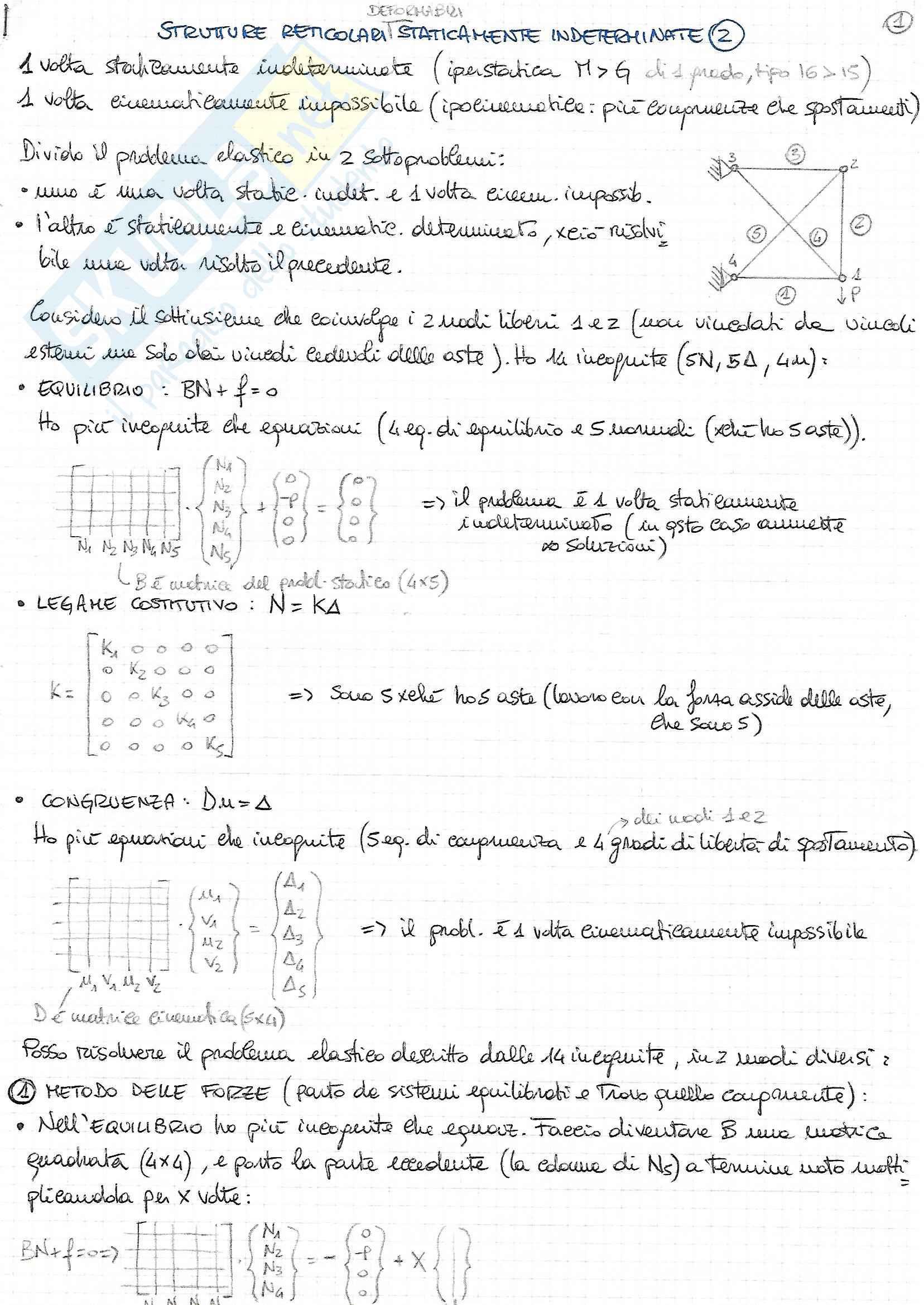 Riassunto esame Scienza delle Costruzioni - Prof. F. Vestroni - Libro consigliato Casini Vasta