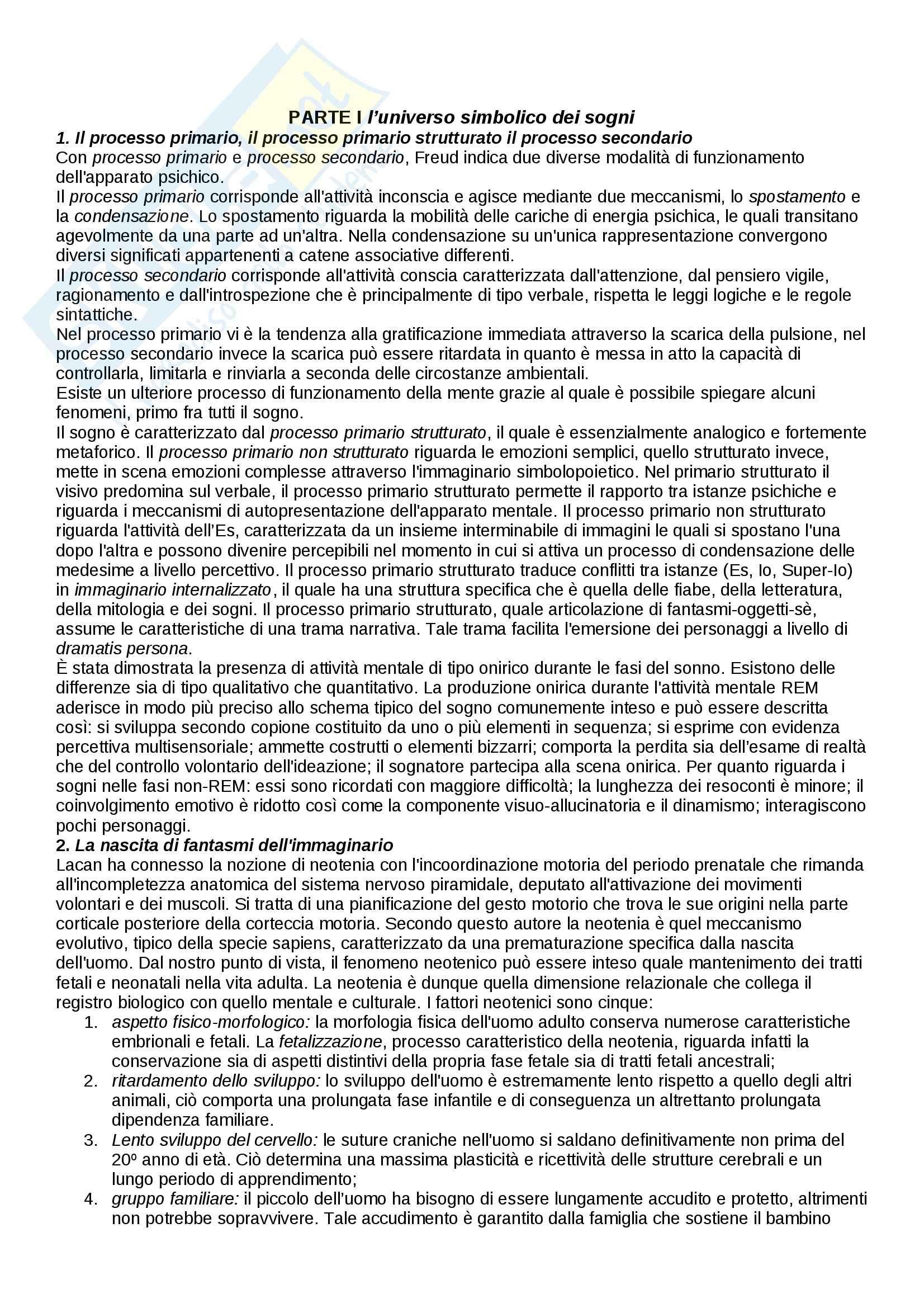 Riassunto esame Psicologia dinamica, prof. Menarini, libro consigliato Nuovi orizzonti della psicologia del sogno, Montefiori