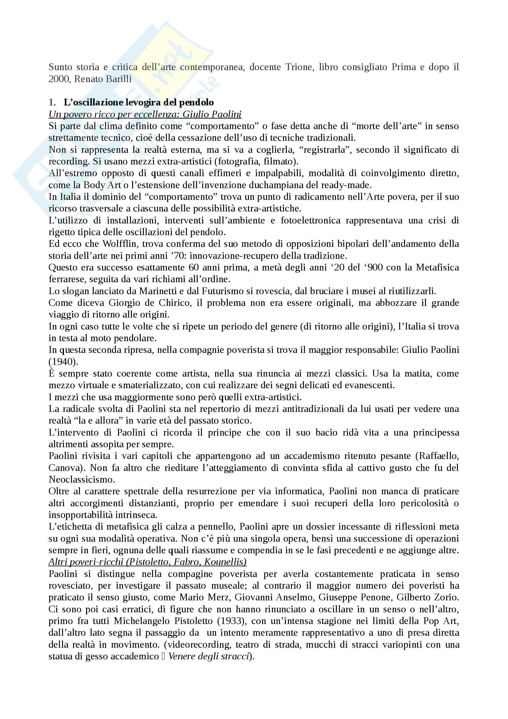 Riassunto esame storia e critica dell'arte contemporanea, docente Trione, libro consigliato Prima e dopo il 2000, Renato Barilli
